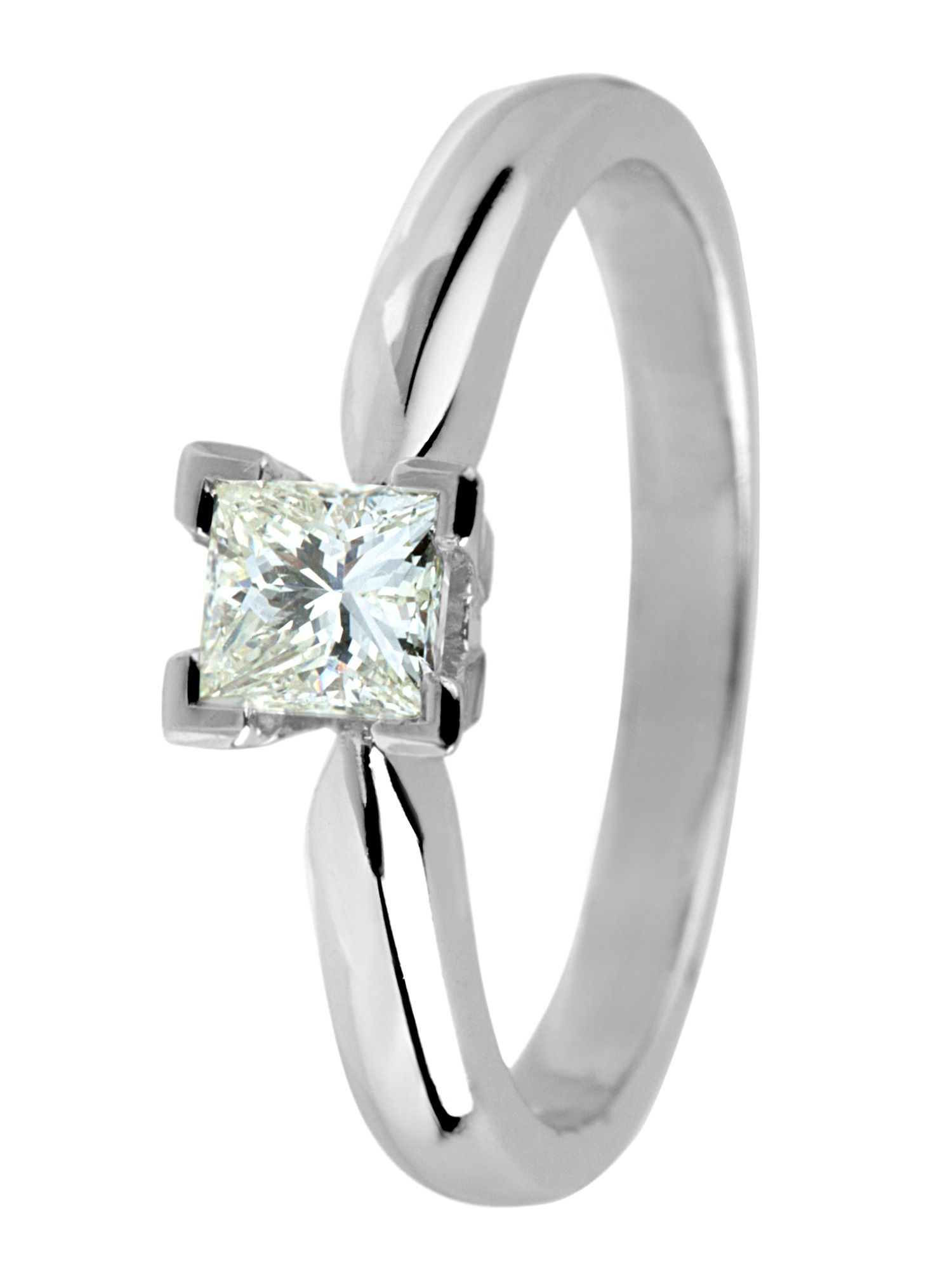 18ct white gold 0.50ct princess cut ring - White Gold