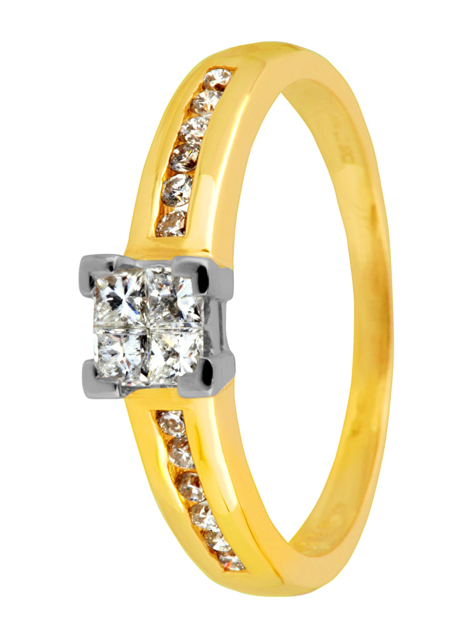 18ct gold 0.50ct invisible set diamond ring - Gold