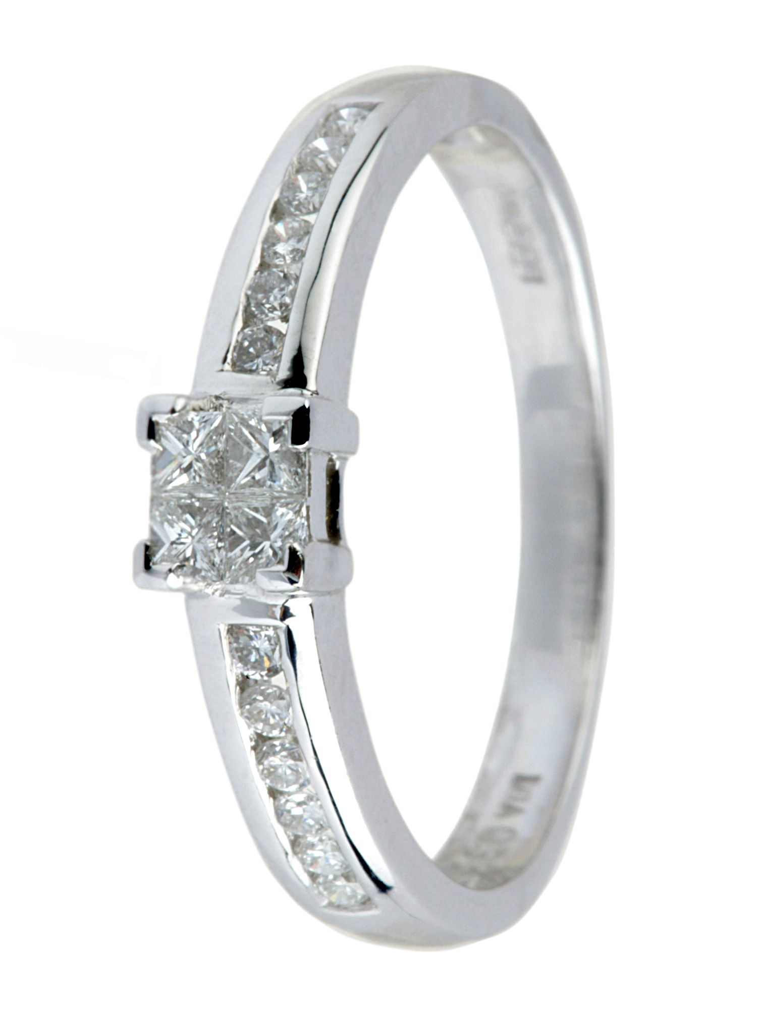 18ct white gold 0.33ct princess cut ring