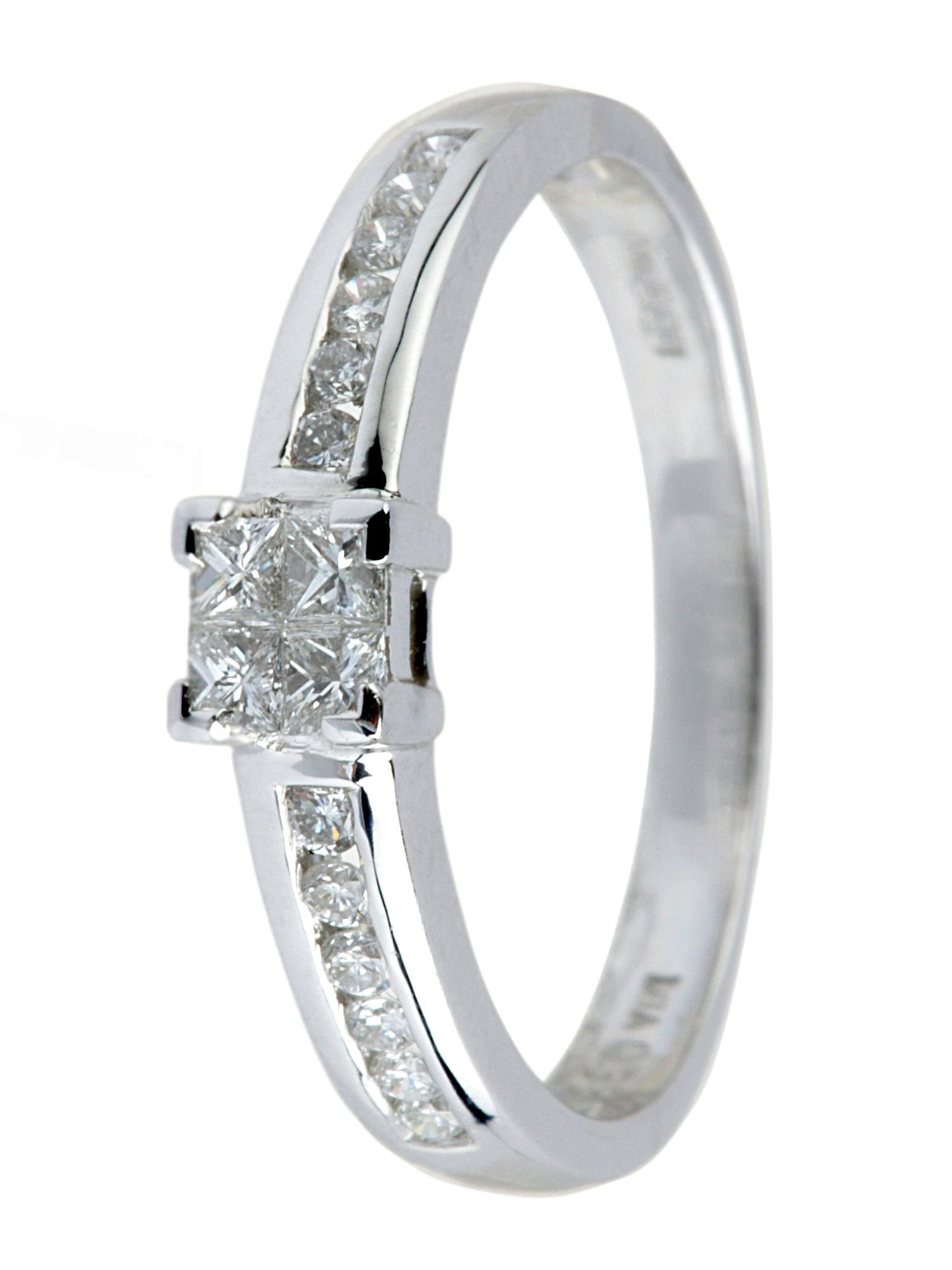 18ct white gold 0.33ct princess cut ring White