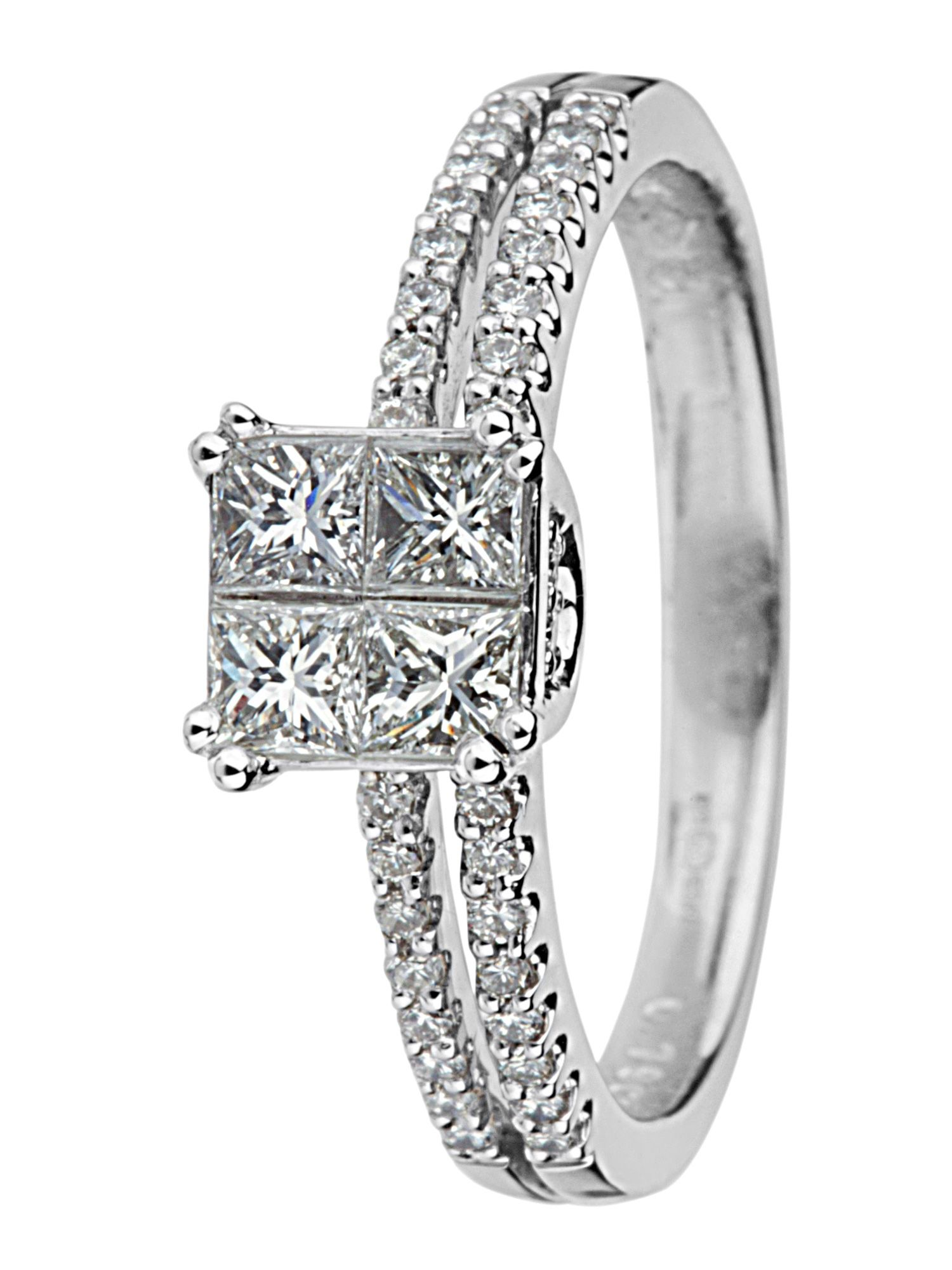 18ct white gold illusion set diamond ring - White Gold
