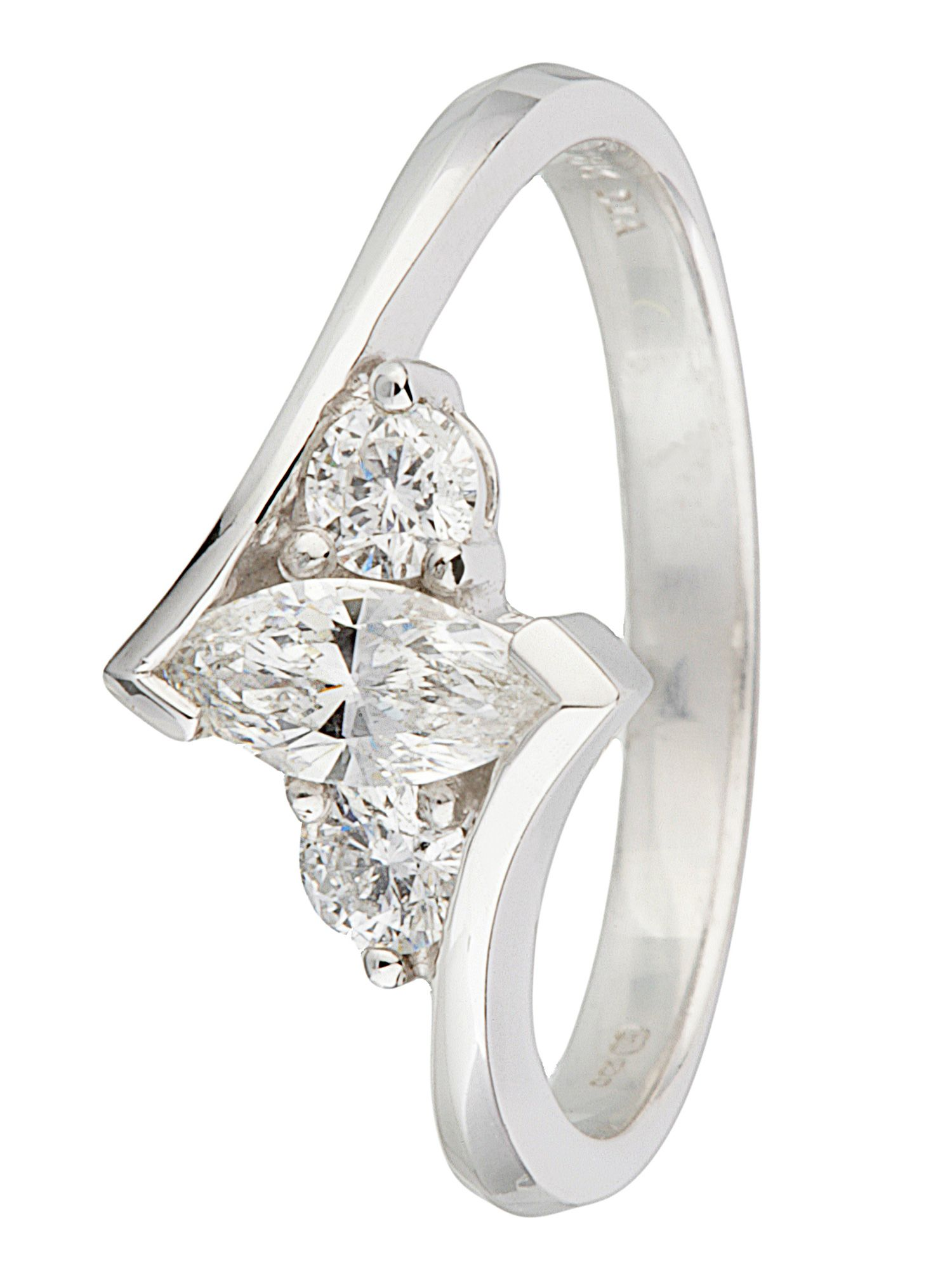 18ct gold 3 stone 0.50ct diamond ring - White Gold