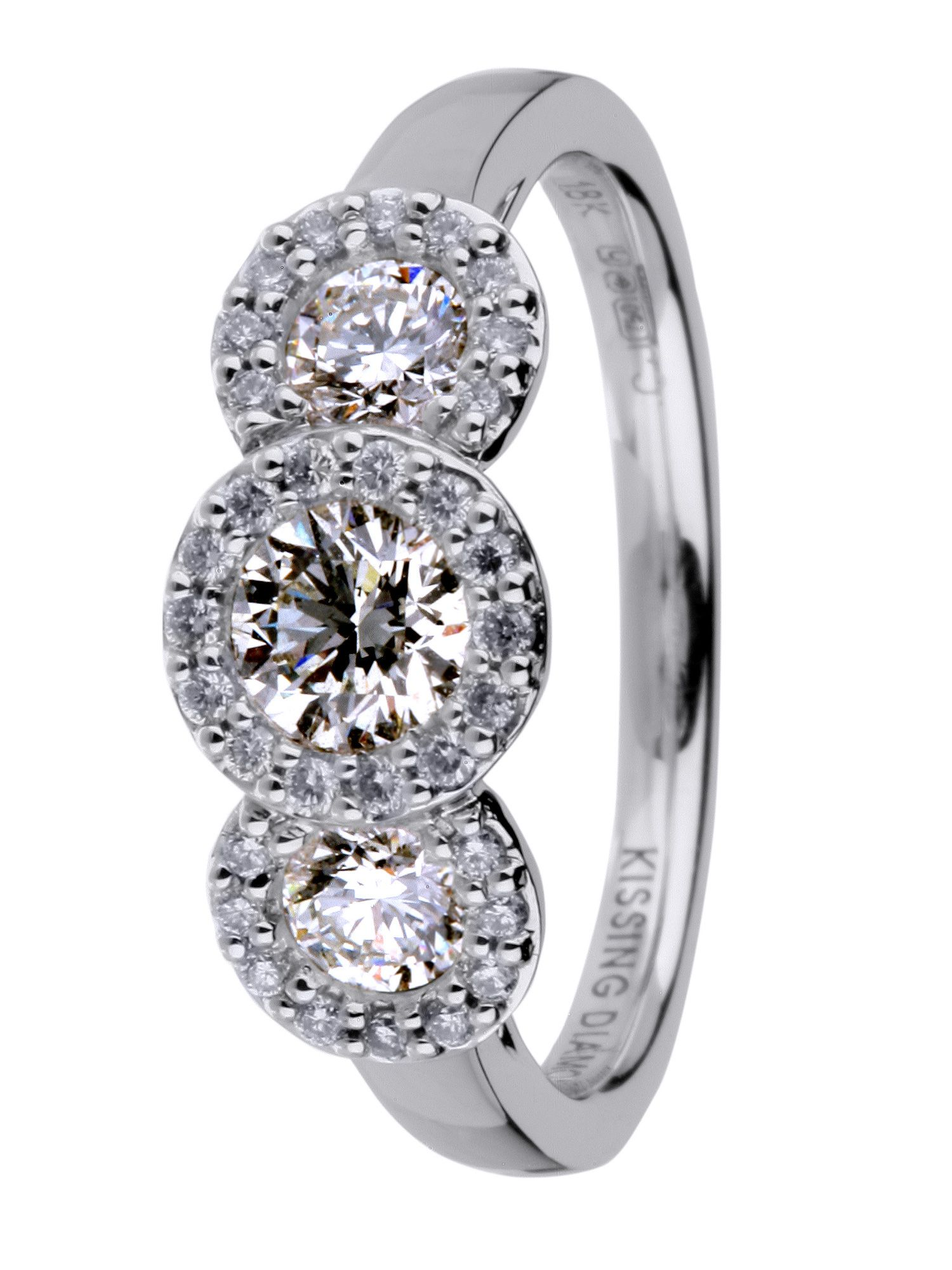 Kissing diamond 18ct gold 1.00ct diamond ring - White Gold