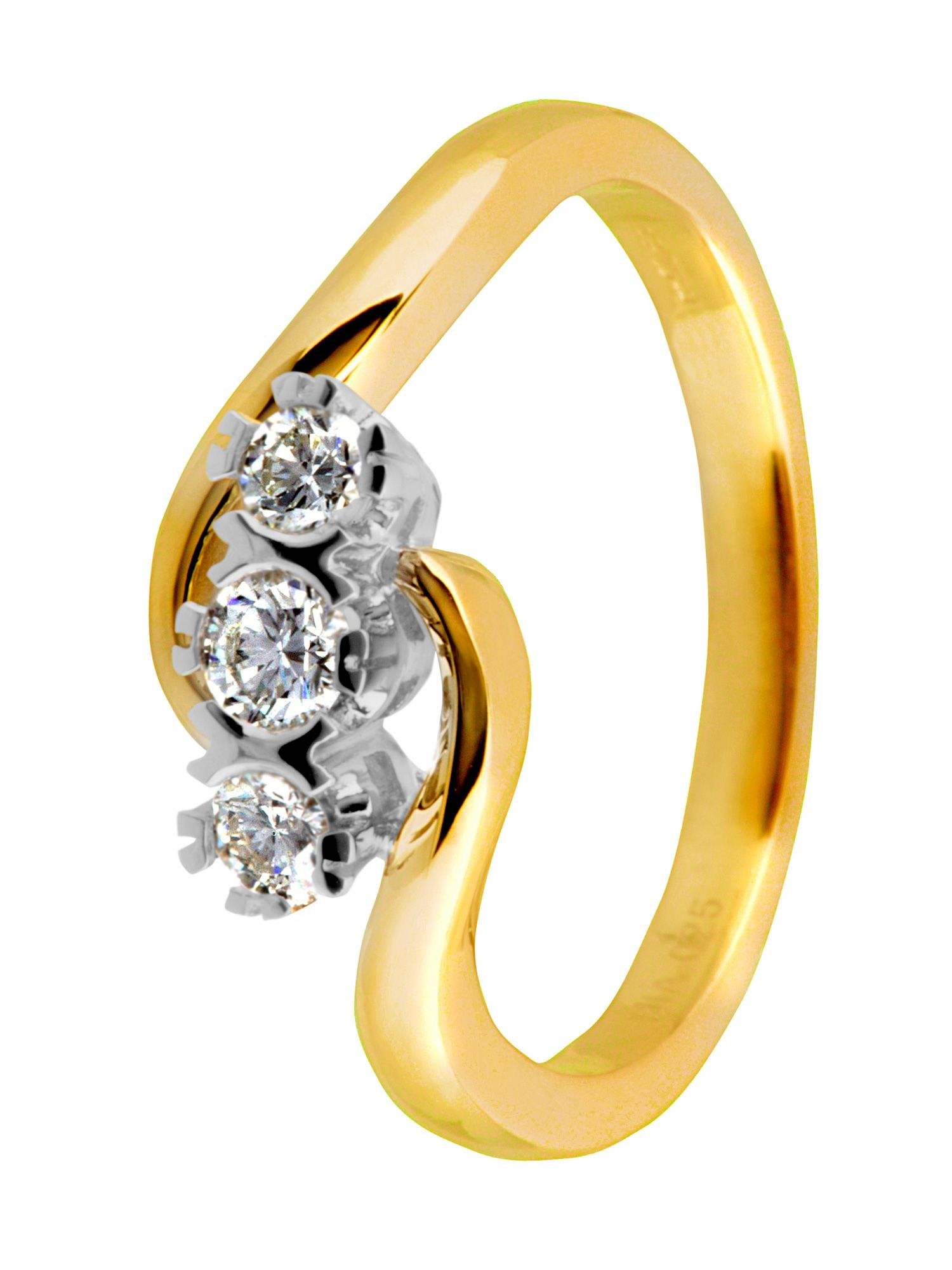18ct yellow gold 3 stone 0.25ct diamond ring - Gold