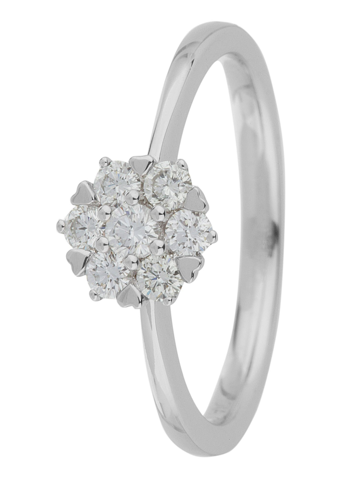 18ct gold 0.33ct diamond cluster ring - White Gold