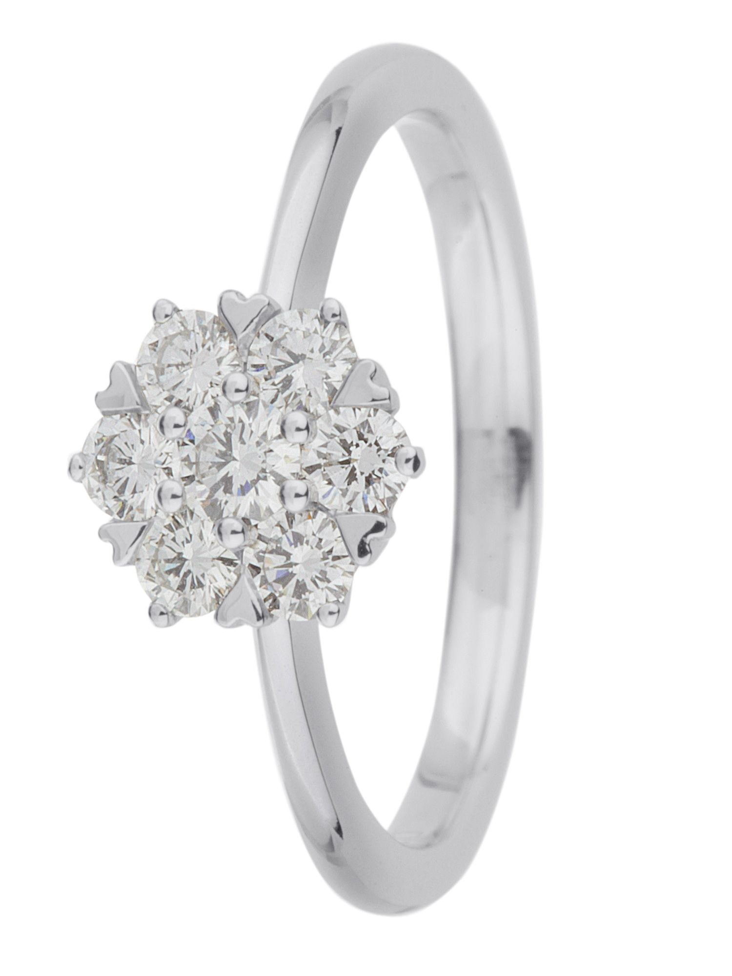18ct gold 0.50ct diamond cluster ring - White Gold