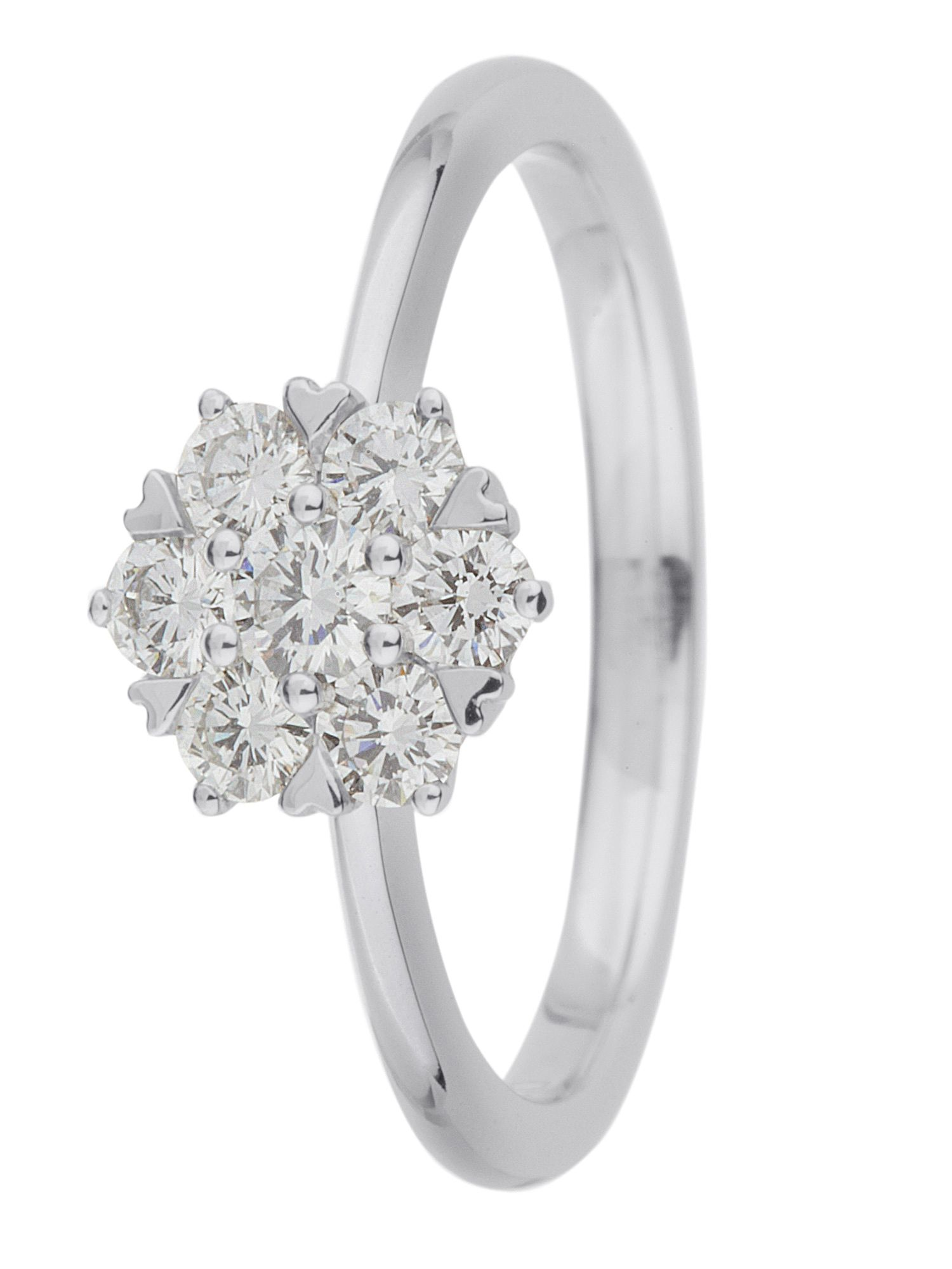 18ct gold 0.50ct diamond cluster ring White Gold