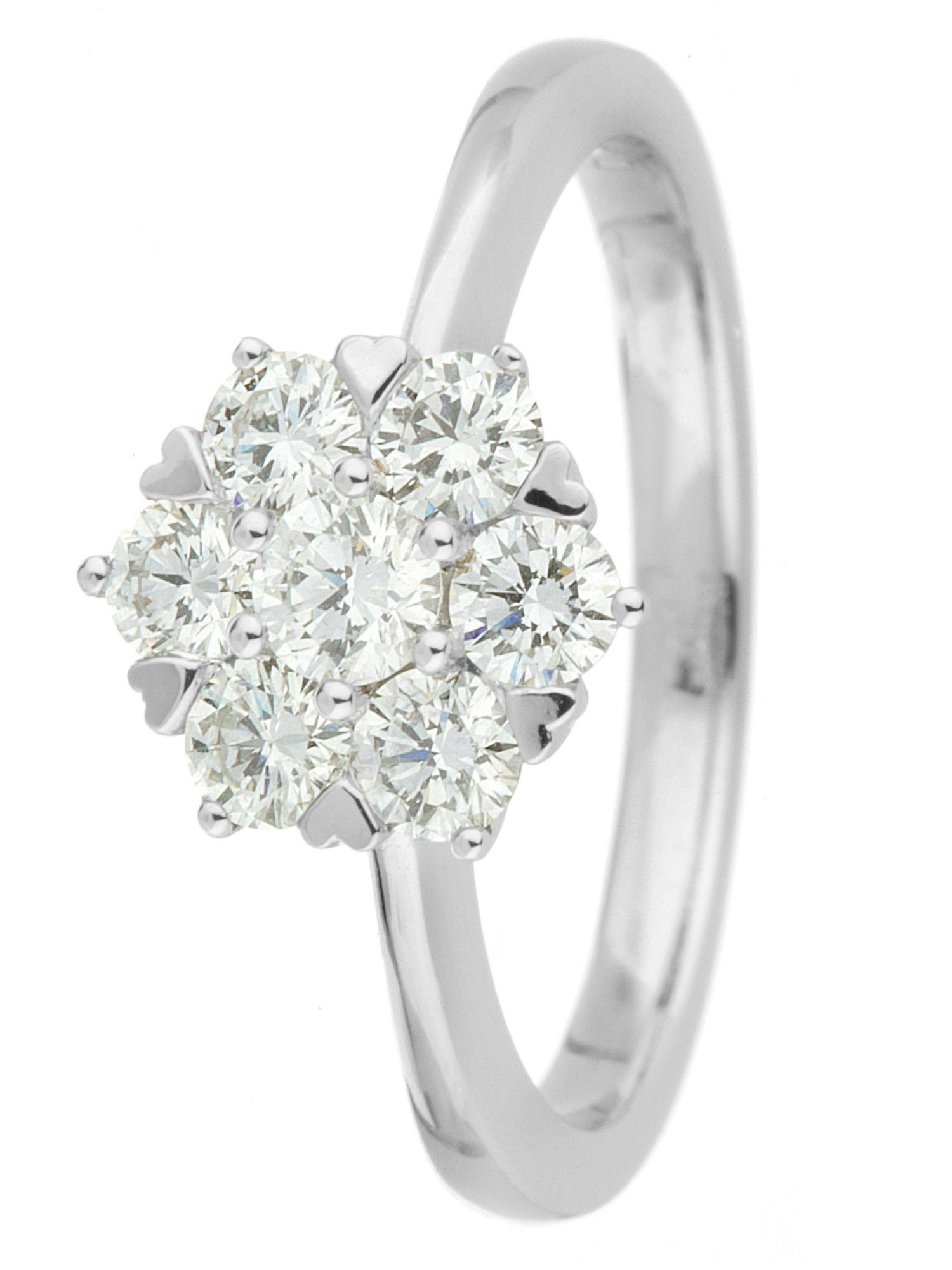 Goldsmiths 18ct gold 0.75ct diamond cluster ring, White Gold