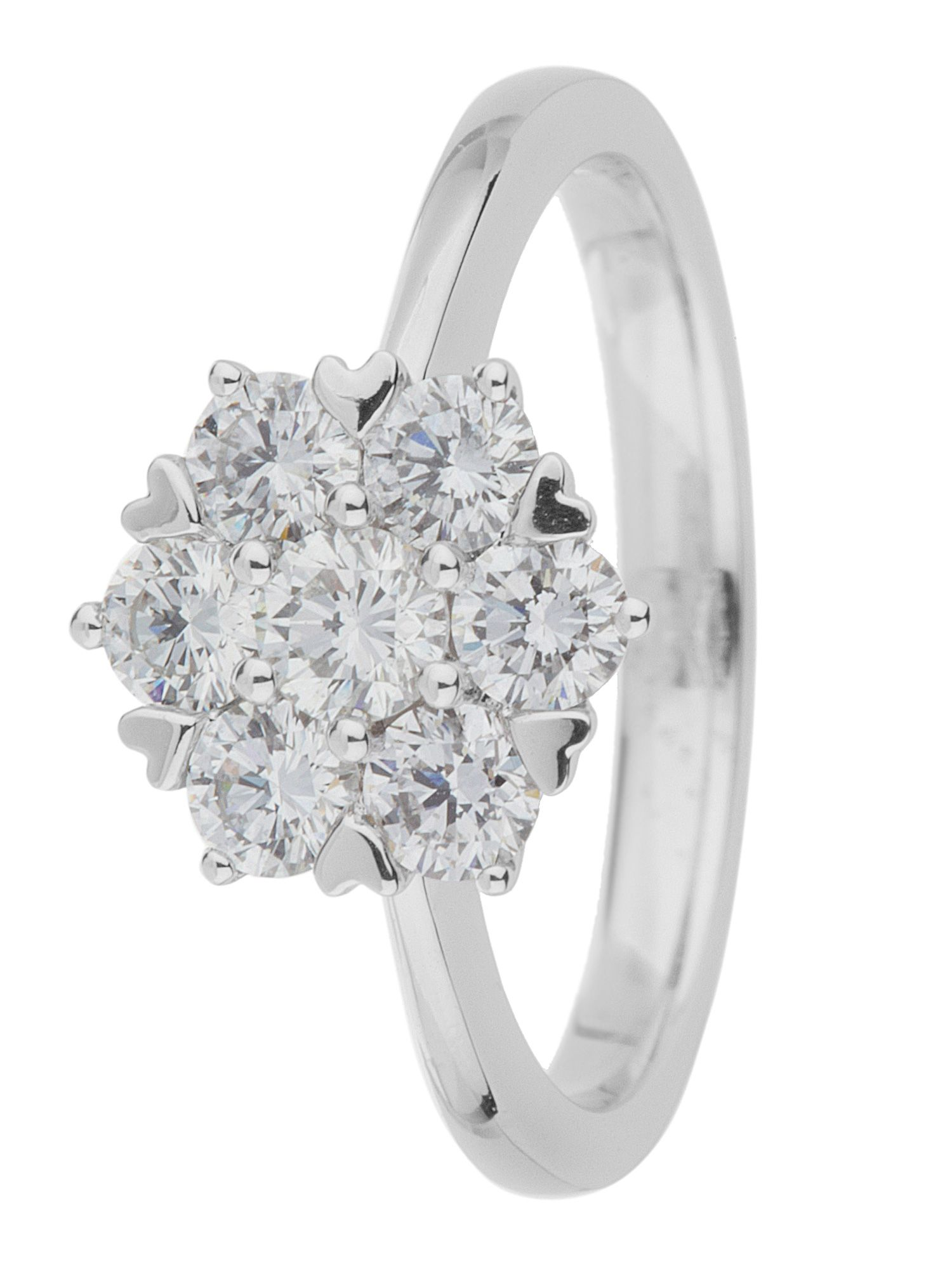 18ct gold 1.00ct diamond cluster ring
