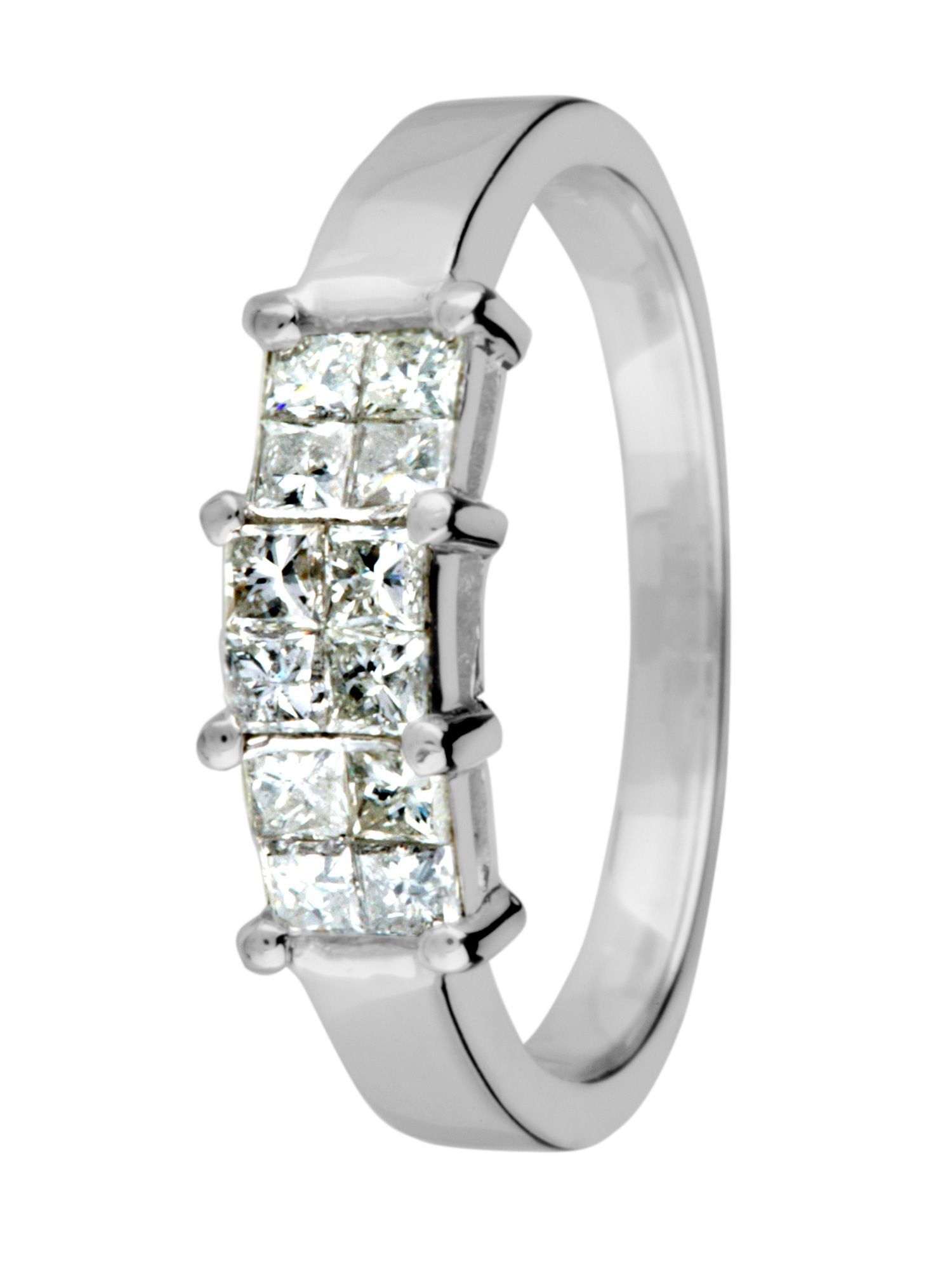 18ct white gold 3 stone 1.00ct diamond ring - White Gold