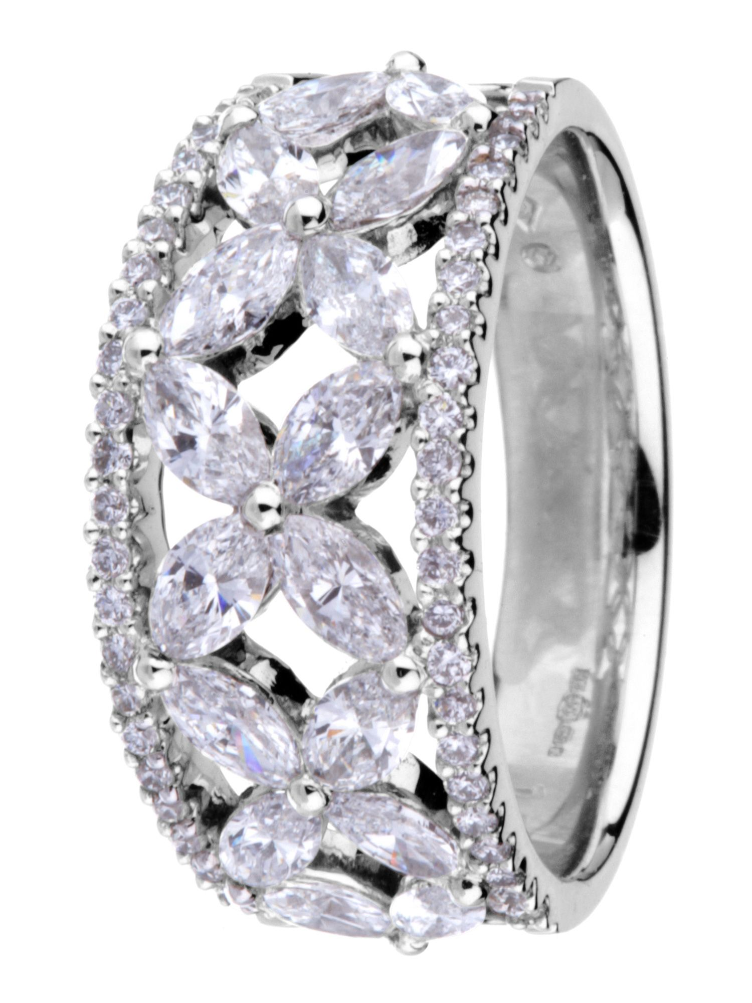 18ct white gold 1.65ct diamond cluster ring - White Gold