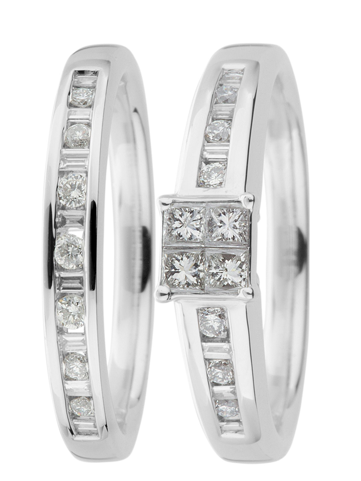 18ct gold 1.00ct, i1 clarity diamond wedding set