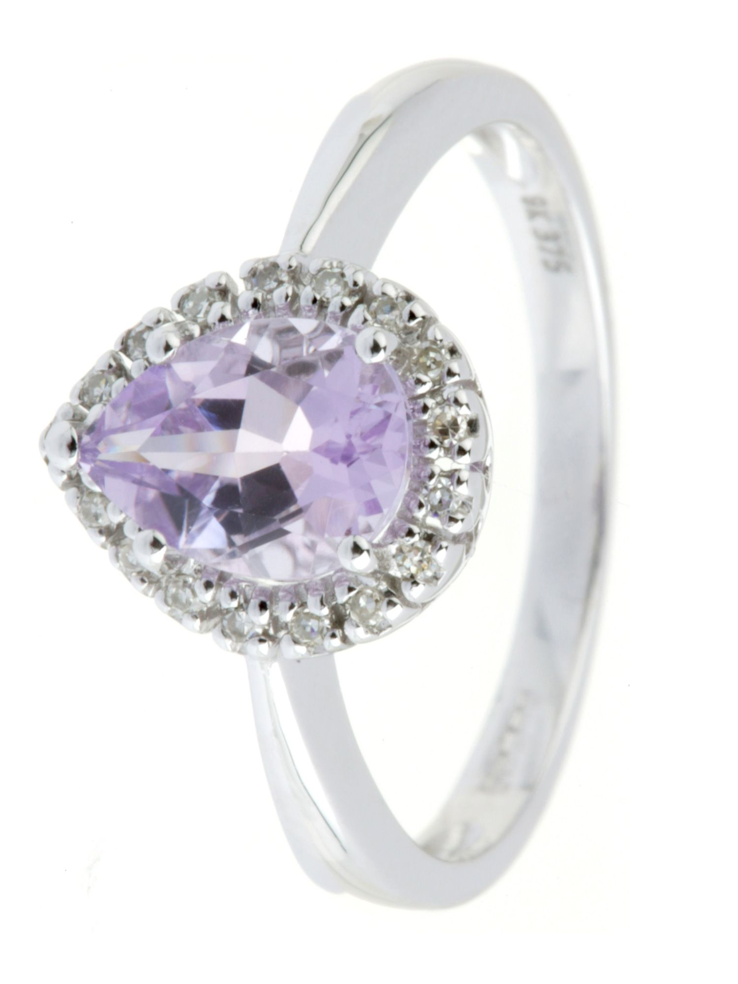 9ct white gold amethyst and diamond ring - White Gold