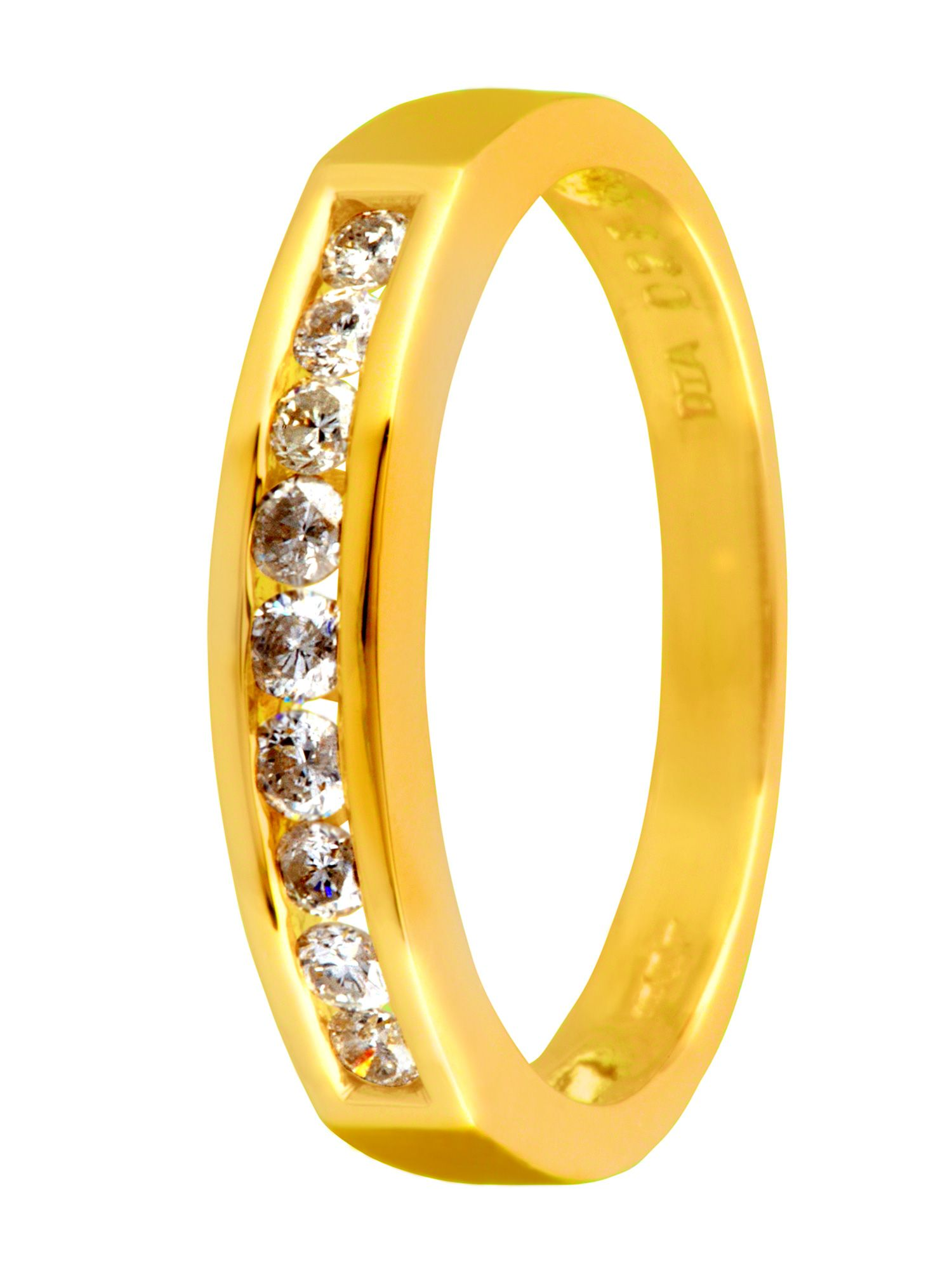 18ct gold 0.25ct claw channel diamond ring - Gold