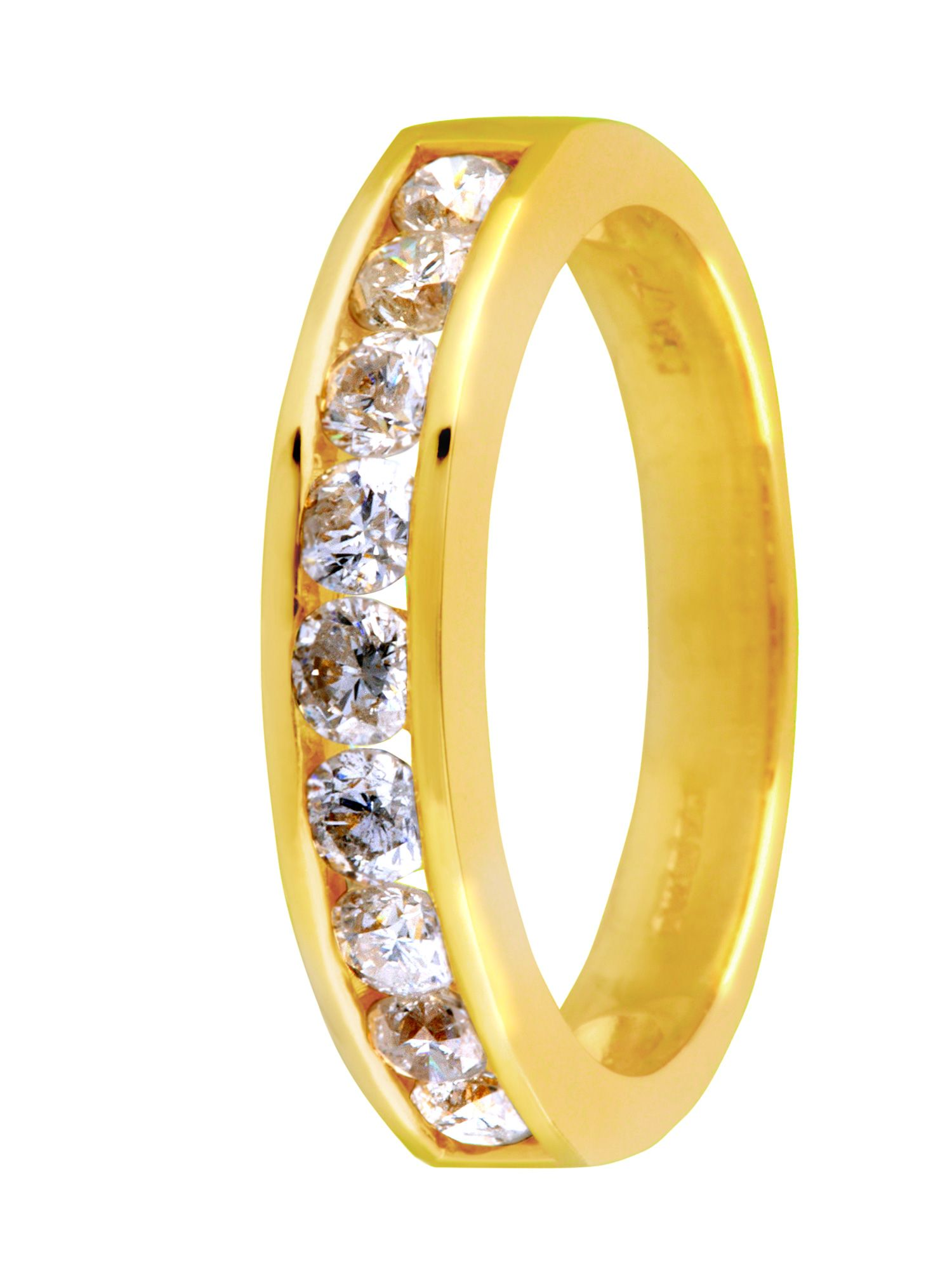 18ct gold 0.75ct claw channel diamond ring - Gold