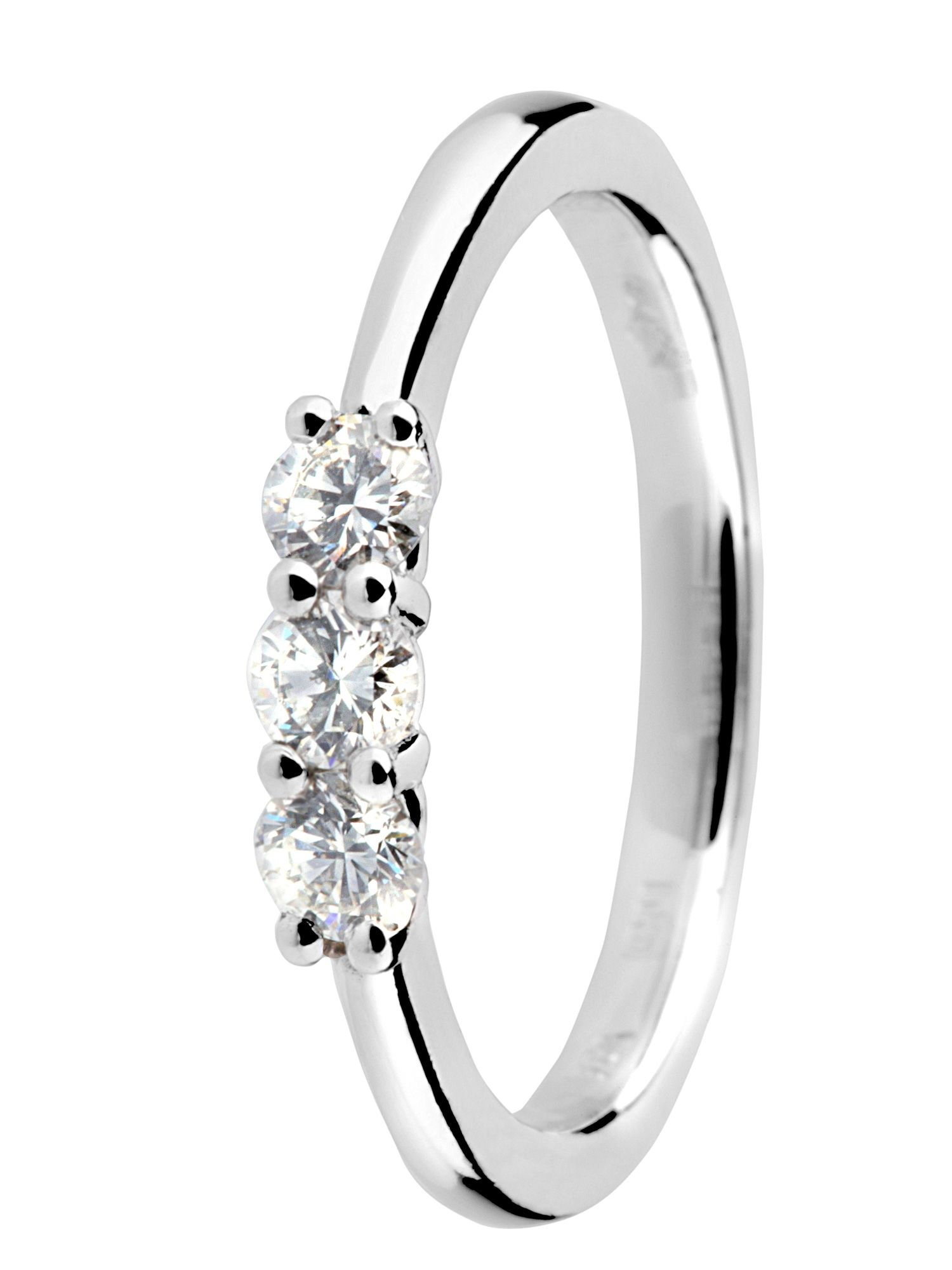 Goldsmiths platinum 3 stone 0.33ct diamond ring
