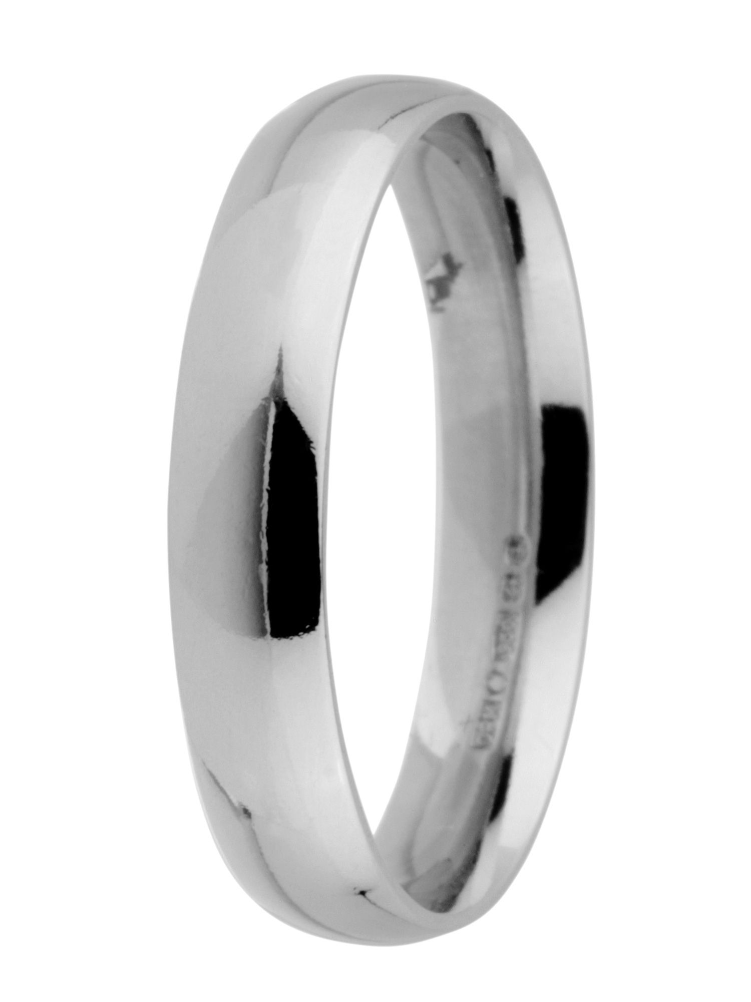 Grooms palladium heavy court 4mm wedding ring - Silver
