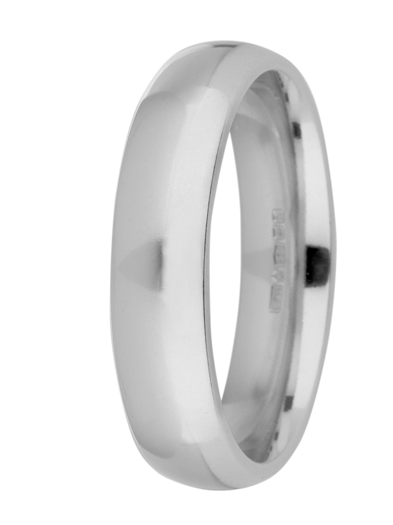 Grooms palladium heavy court 5mm wedding ring - Silver
