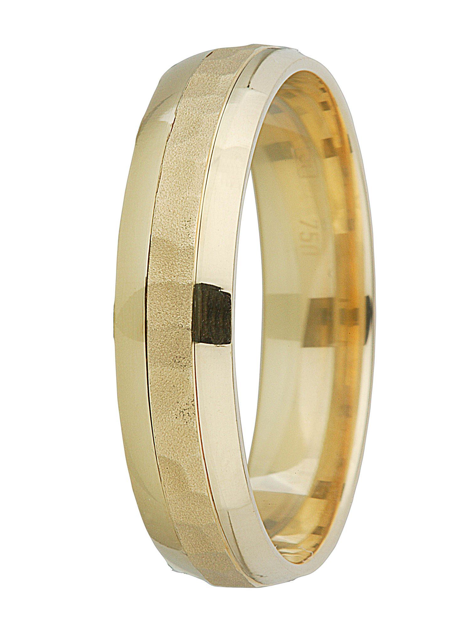Gents 18ct gold hammered finish wedding band - Gold