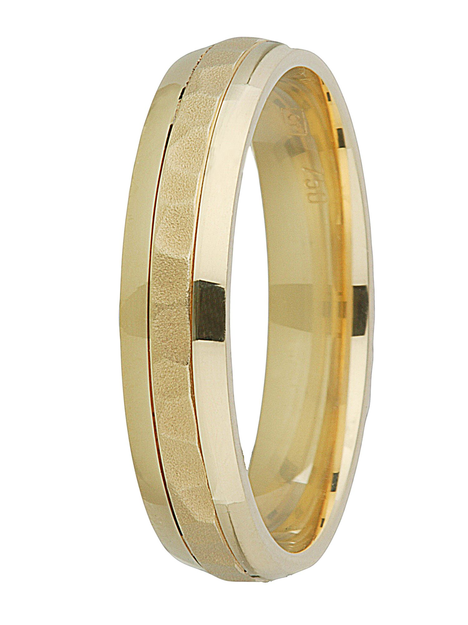 Ladies 18ct gold hammered finish wedding band