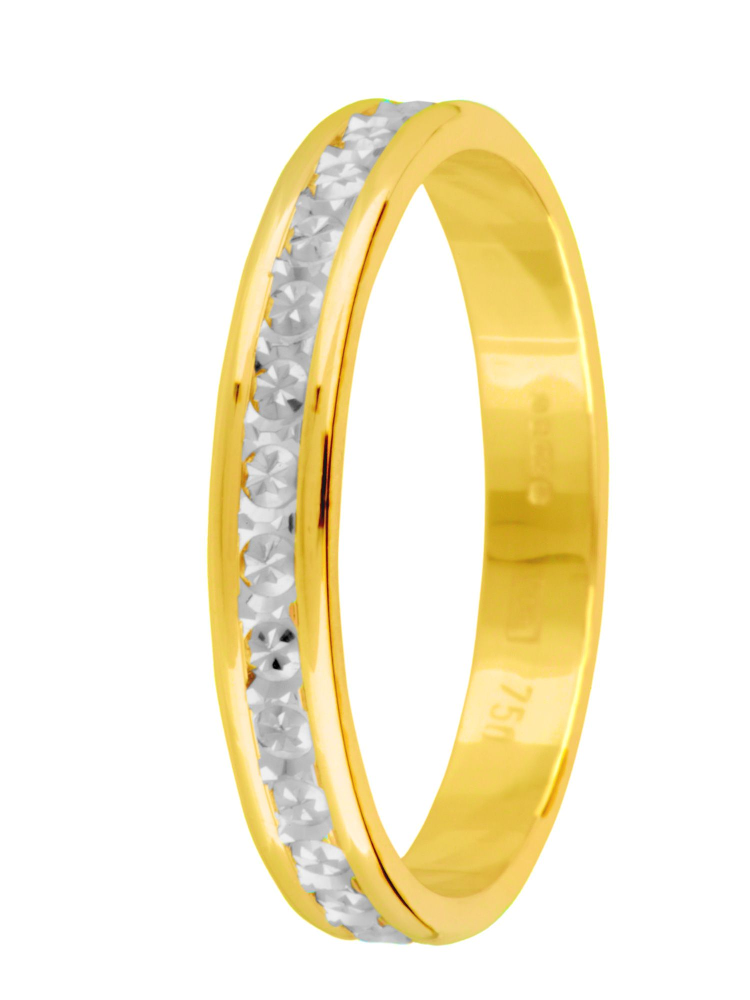 Ladies 18ct gold 3mm sparkle centre ring - Multi-Coloured