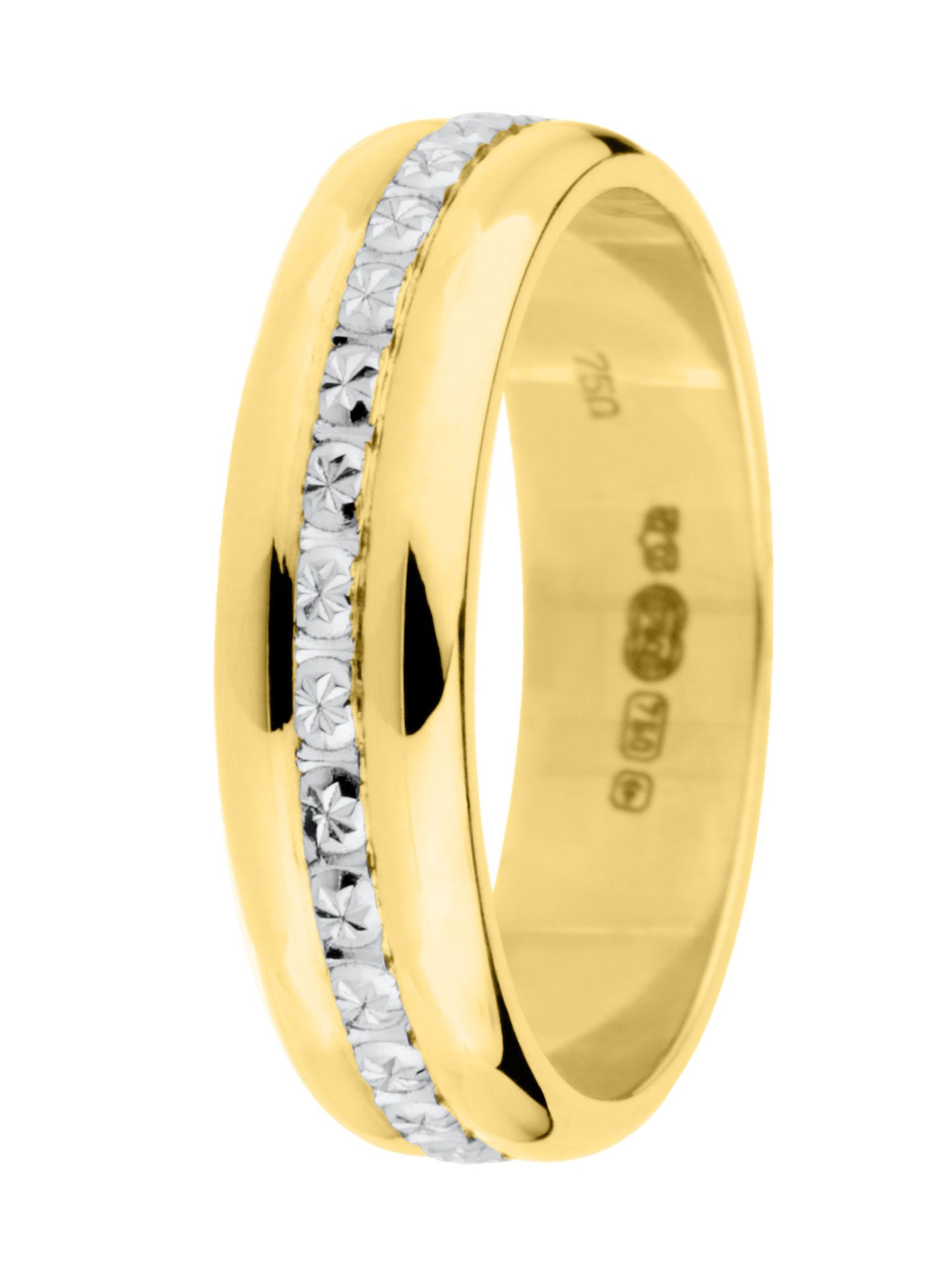 Goldsmiths Ladies 18ct 2 colour gold sparkle wedding ring, Multi-Coloured