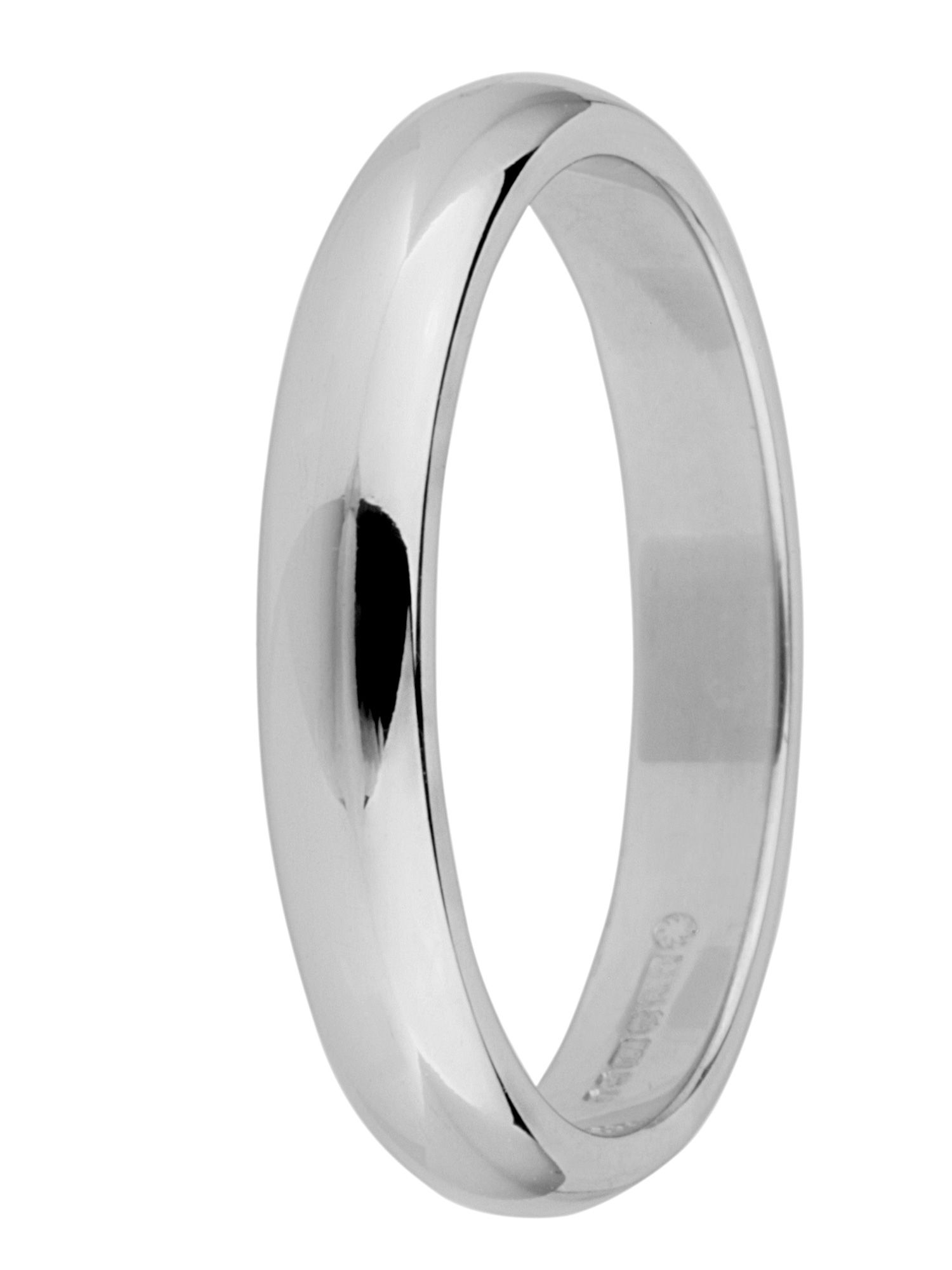 Brides 18ct gold 3mm court wedding ring - White Gold