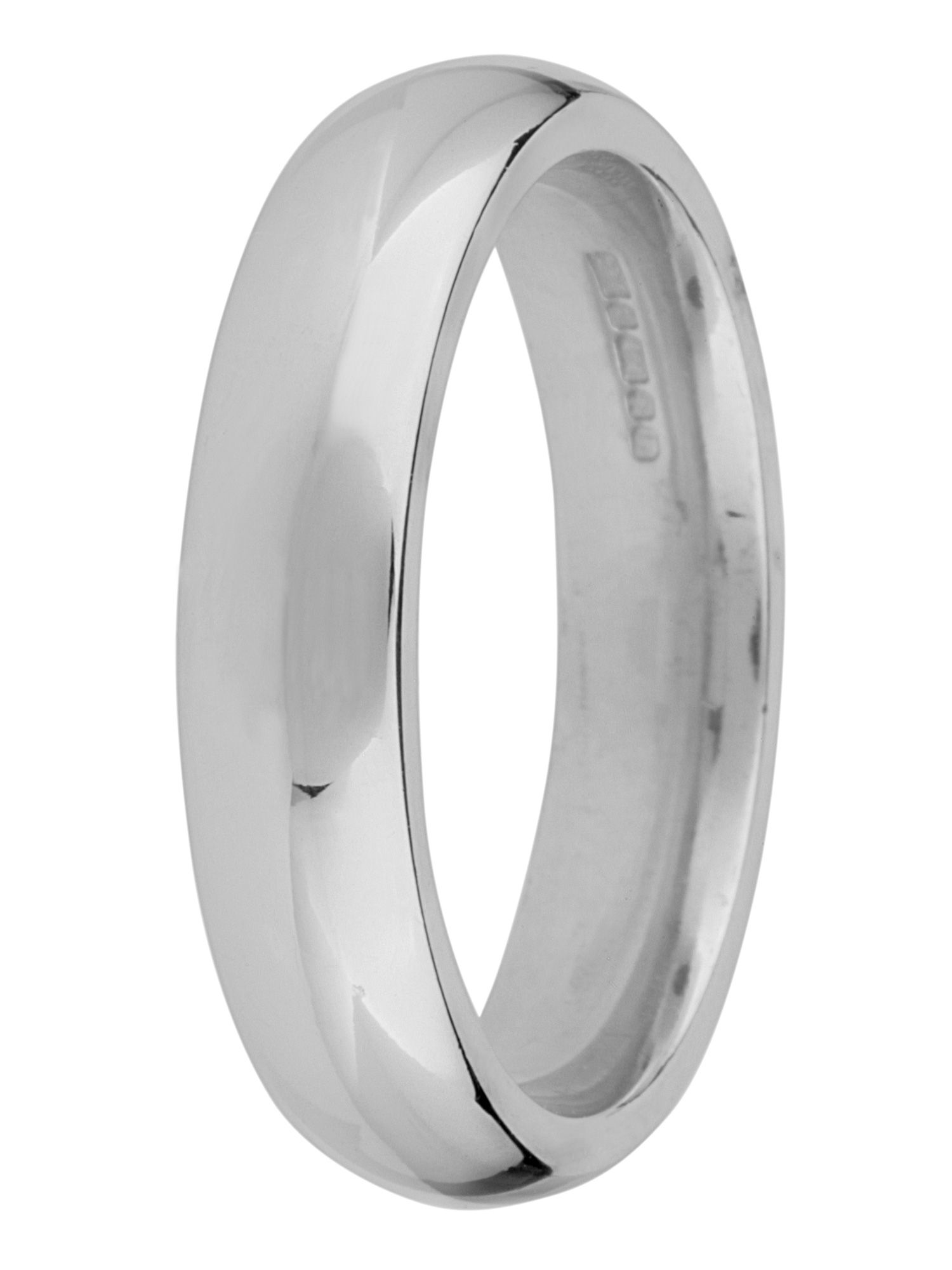 Grooms 18ct gold 5mm court wedding ring - White Gold