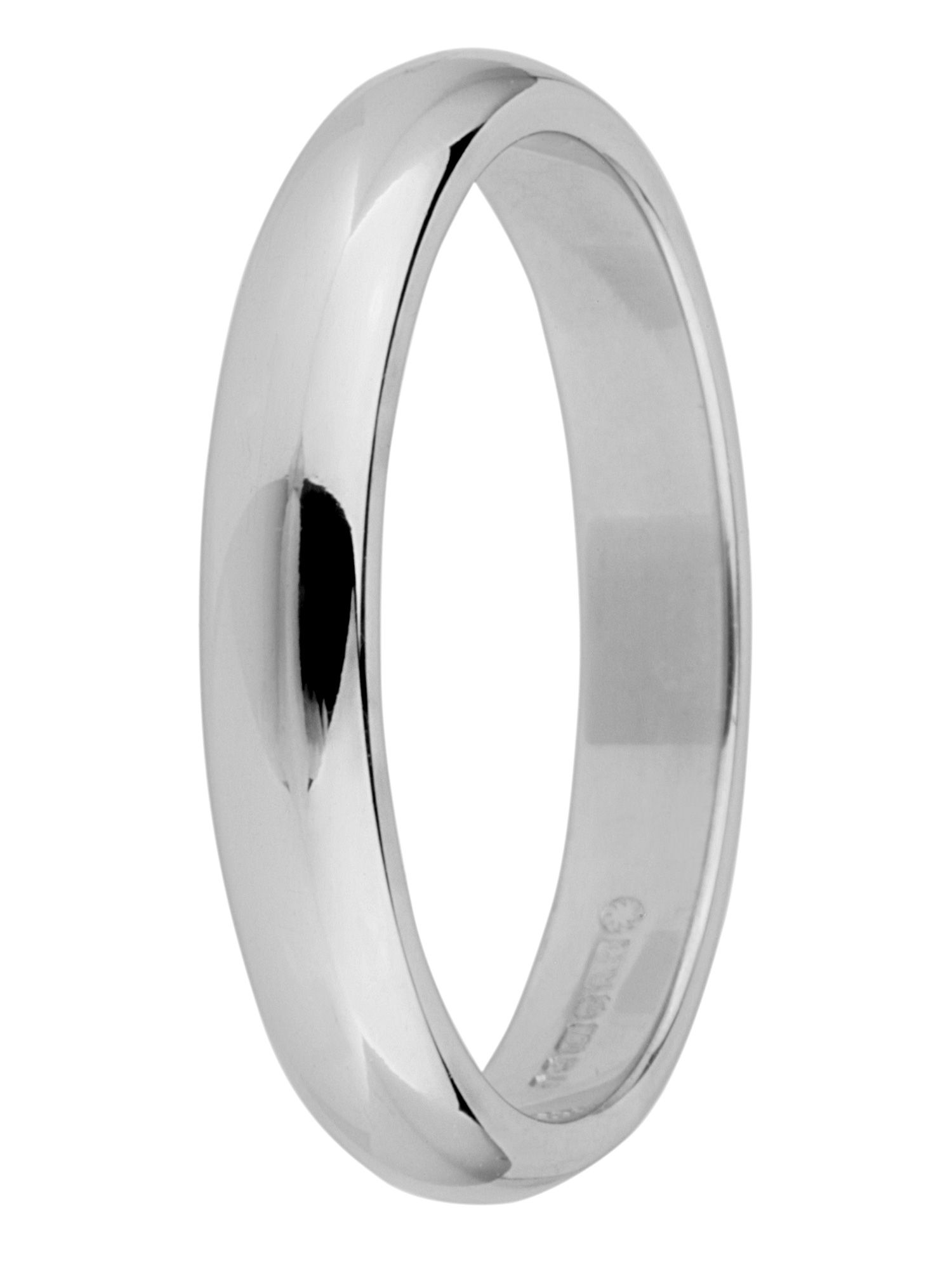 Brides 18ct gold heavy court 3mm wedding ring - White Gold