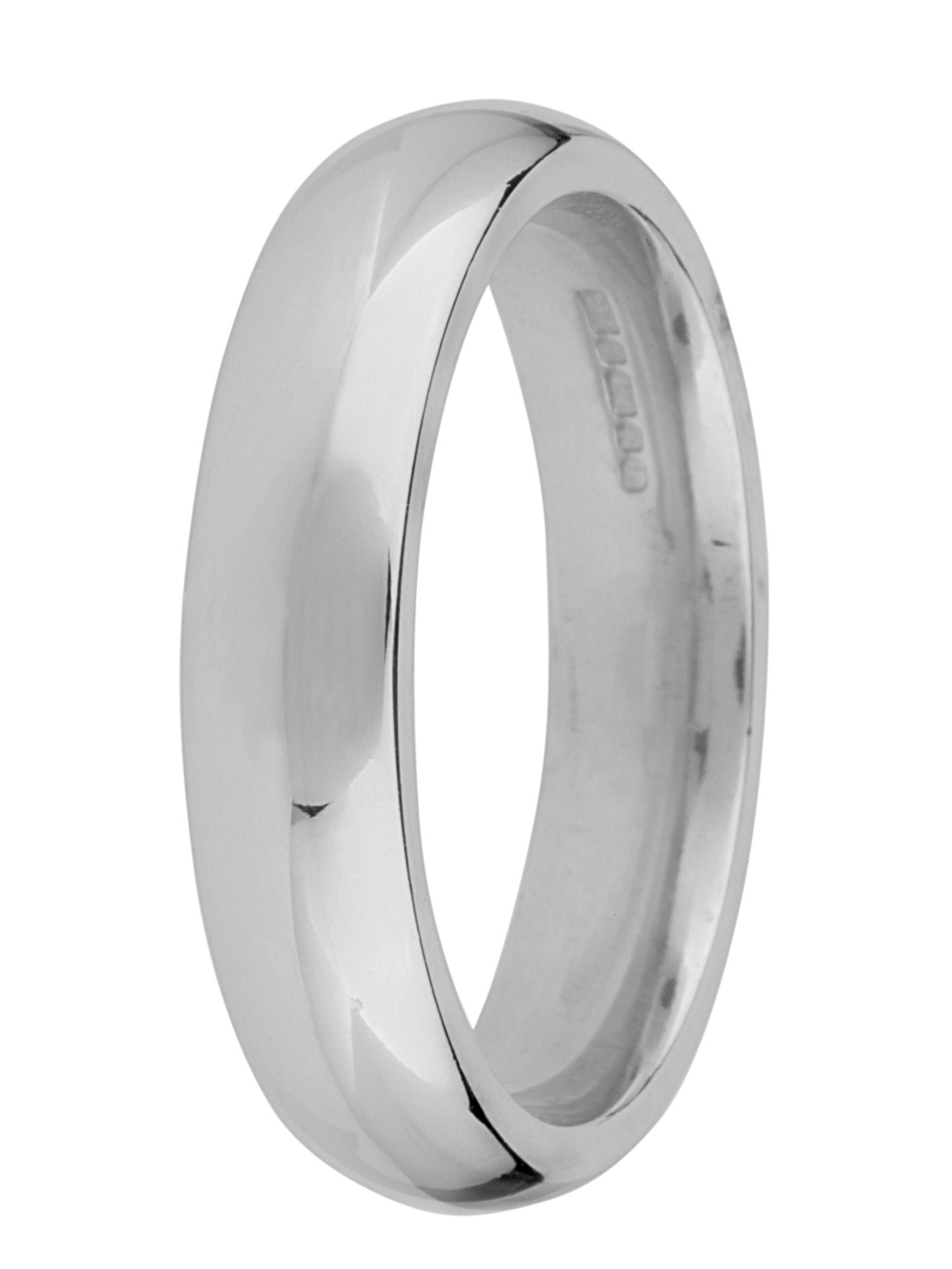 Grooms 18ct gold heavy court 5mm wedding ring - White Gold