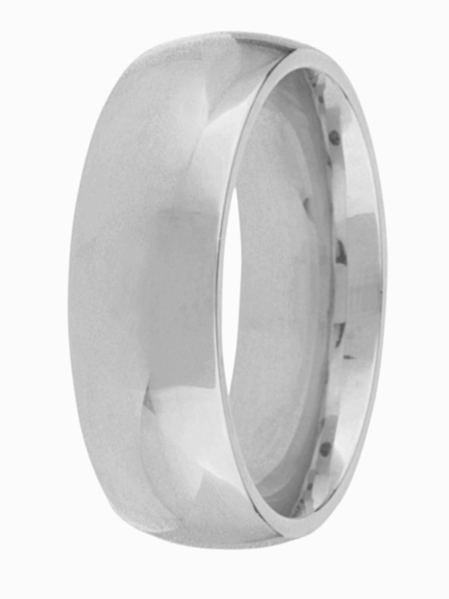 Men's Goldsmiths Grooms 18ct gold heavy court 7mm wedding ring, White Gold