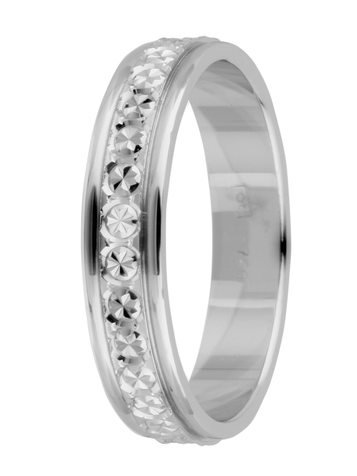 Brides 18ct gold sparkle cut wedding ring - White Gold