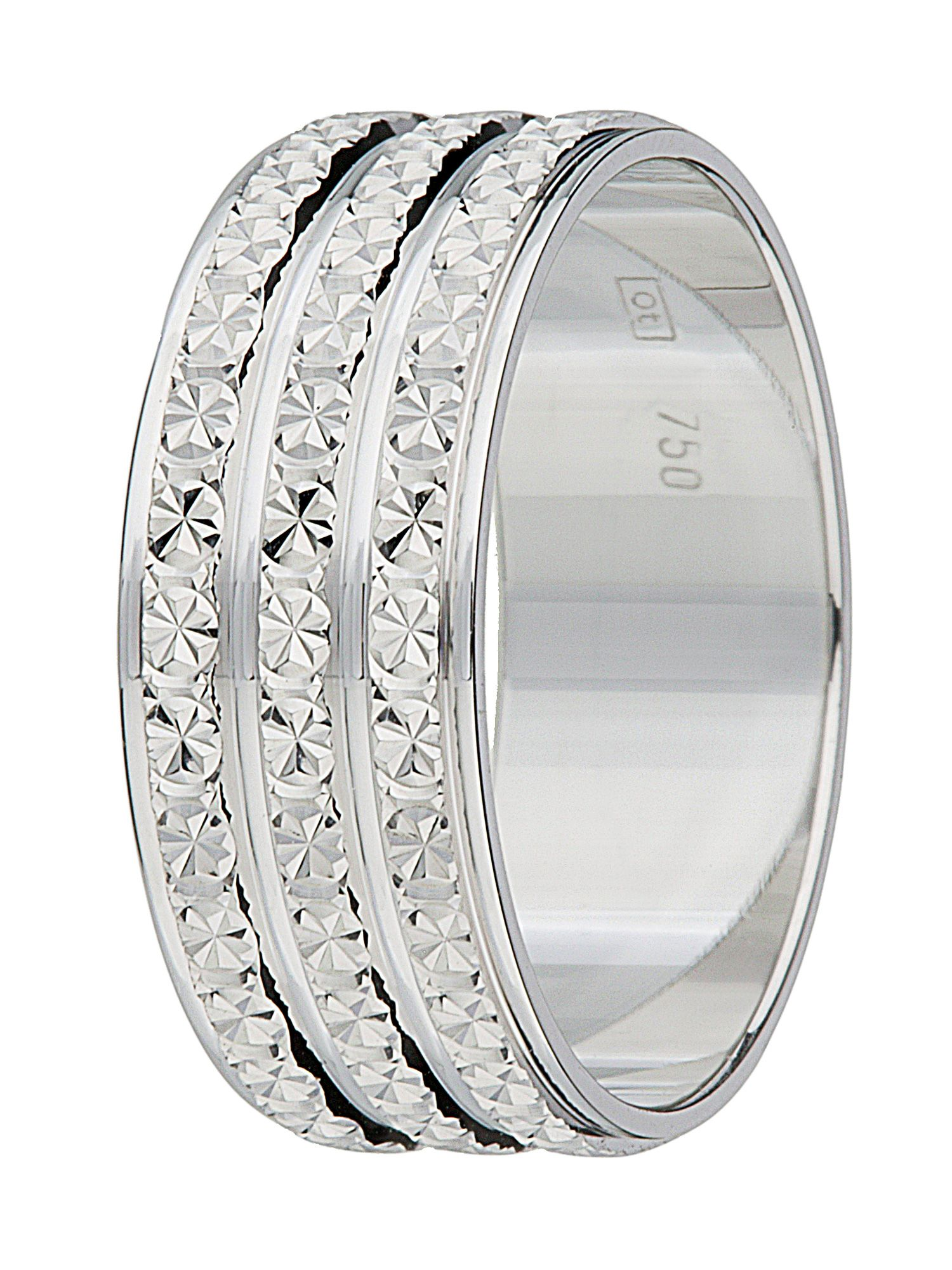 Ladies 18ct gold 3 row sparkle cut wedding band - White Gold