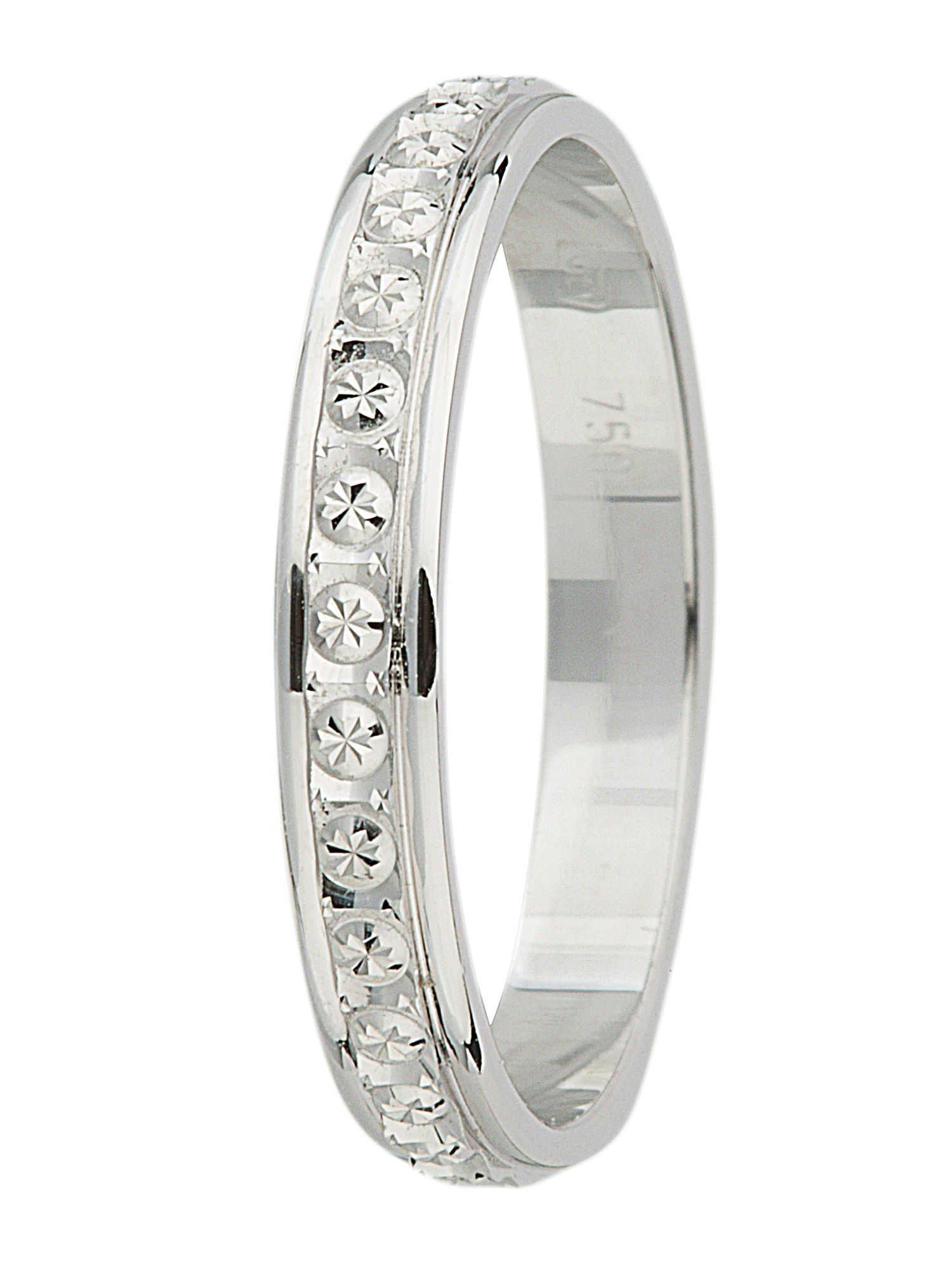 Ladies 18ct gold sparkle cut fancy wedding band - White Gold