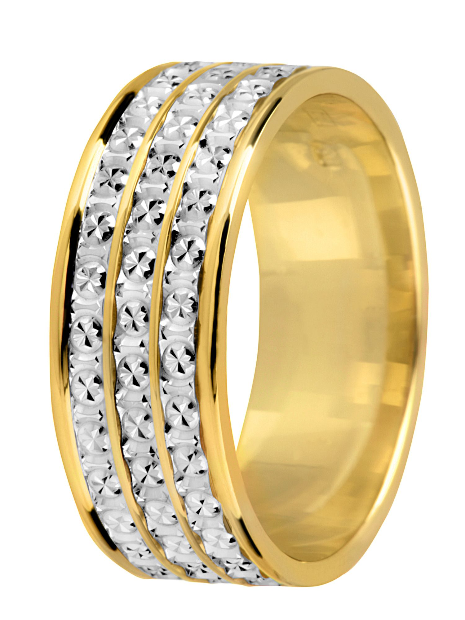 Bride`s 18ct 2 colour gold sparkle wedding ring - Multi-Coloured
