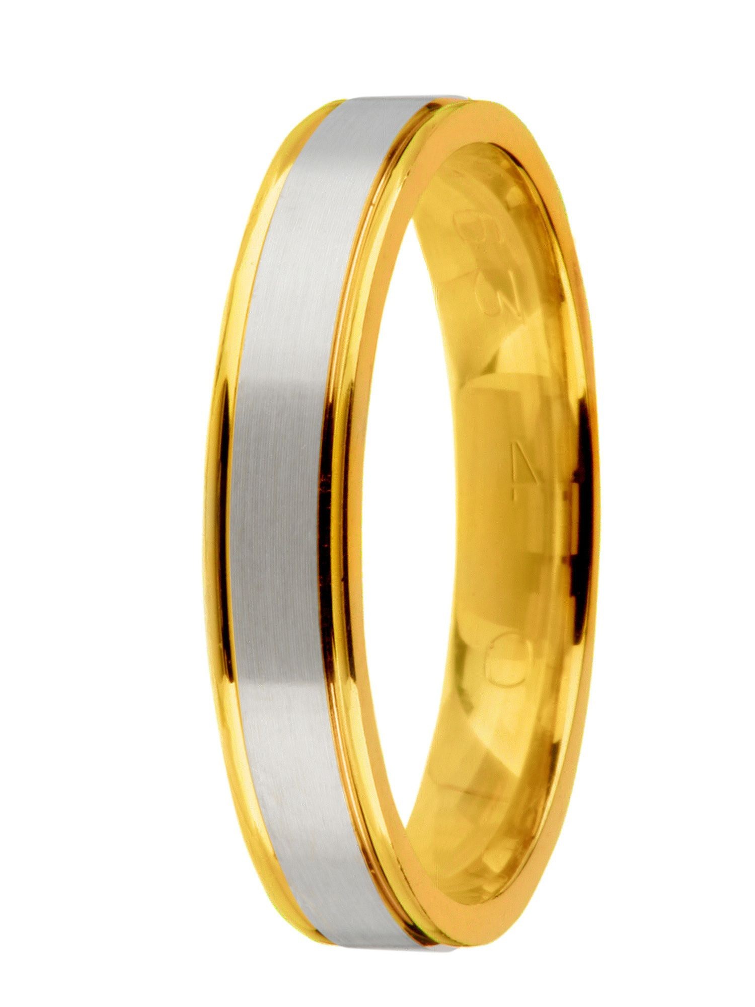 Grooms 18ct 2 colour gold wedding ring - Multi-Coloured