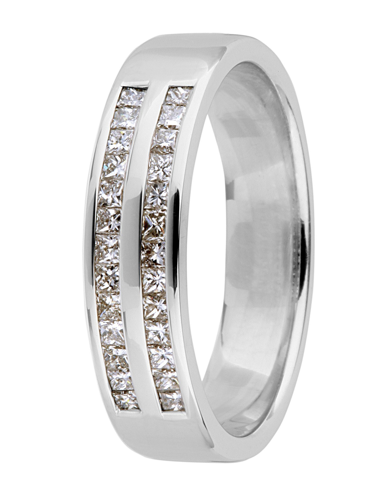 Brides 18ct gold diamond wedding ring - White Gold