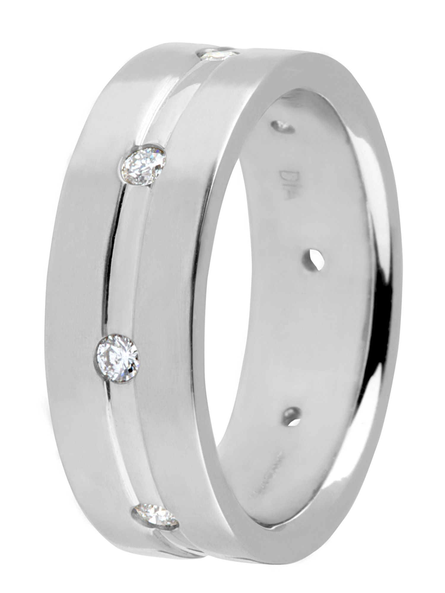 Groom`s 18ct white gold diamond wedding ring - White Gold