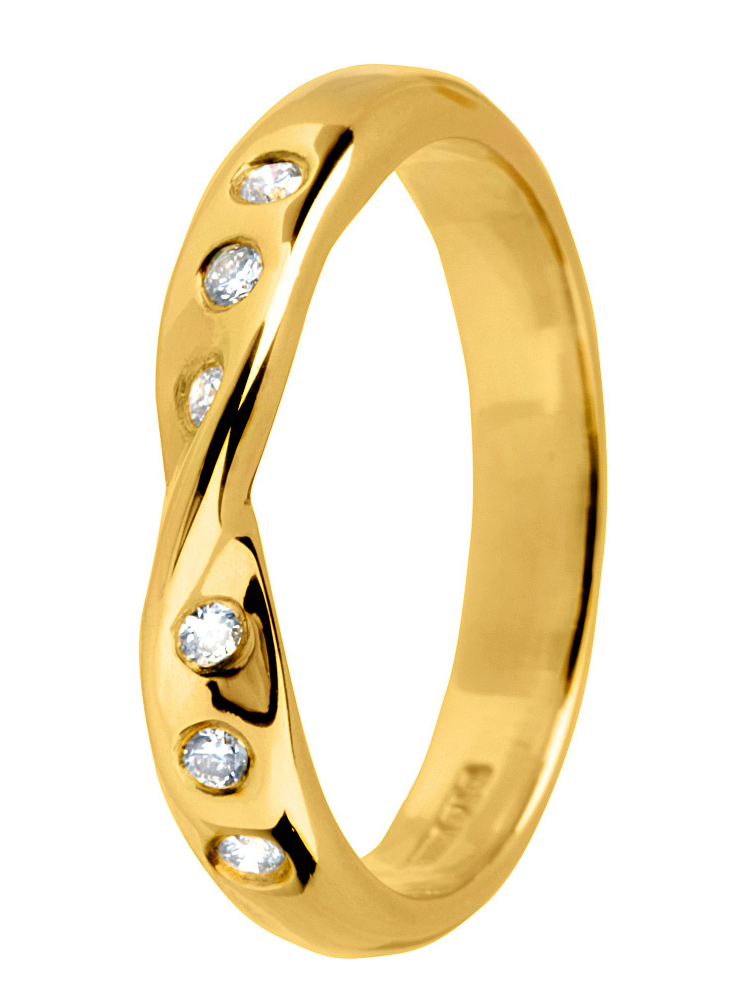 18ct gold 0.09ct diamond twist wedding band Gold