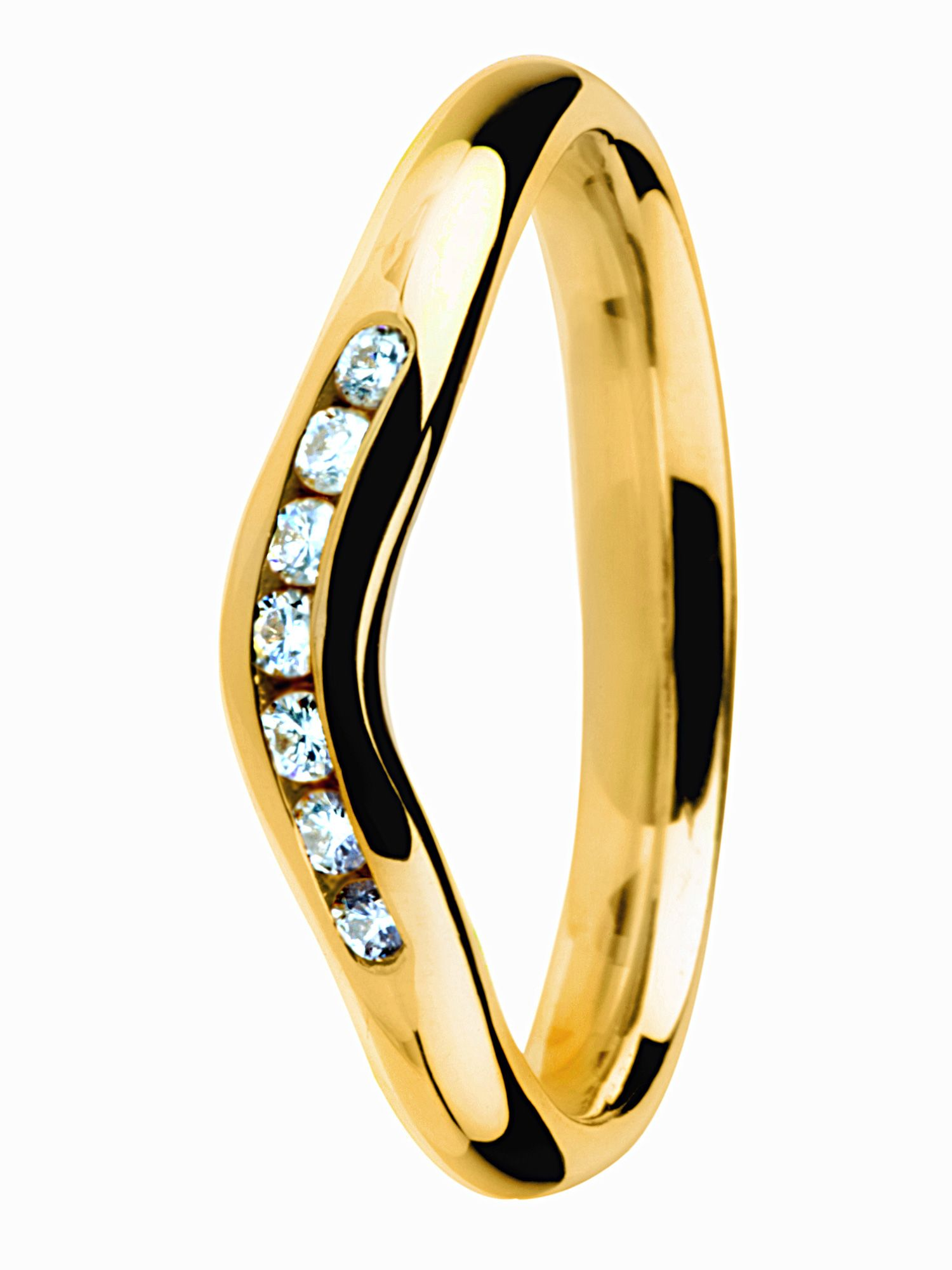 18ct yellow gold diamond wishbone wedding band