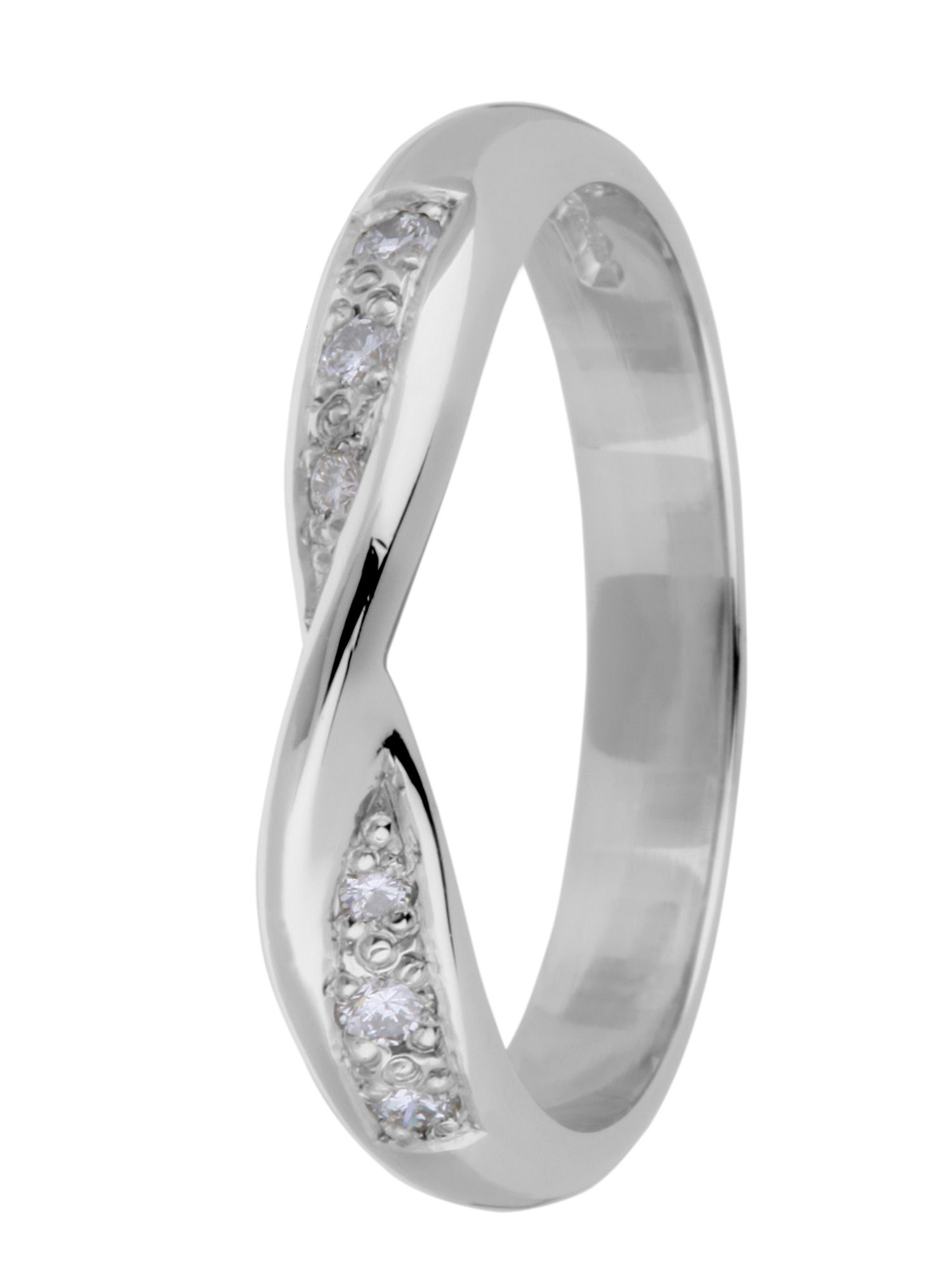 Brides platinum diamond set wedding ring - Silver
