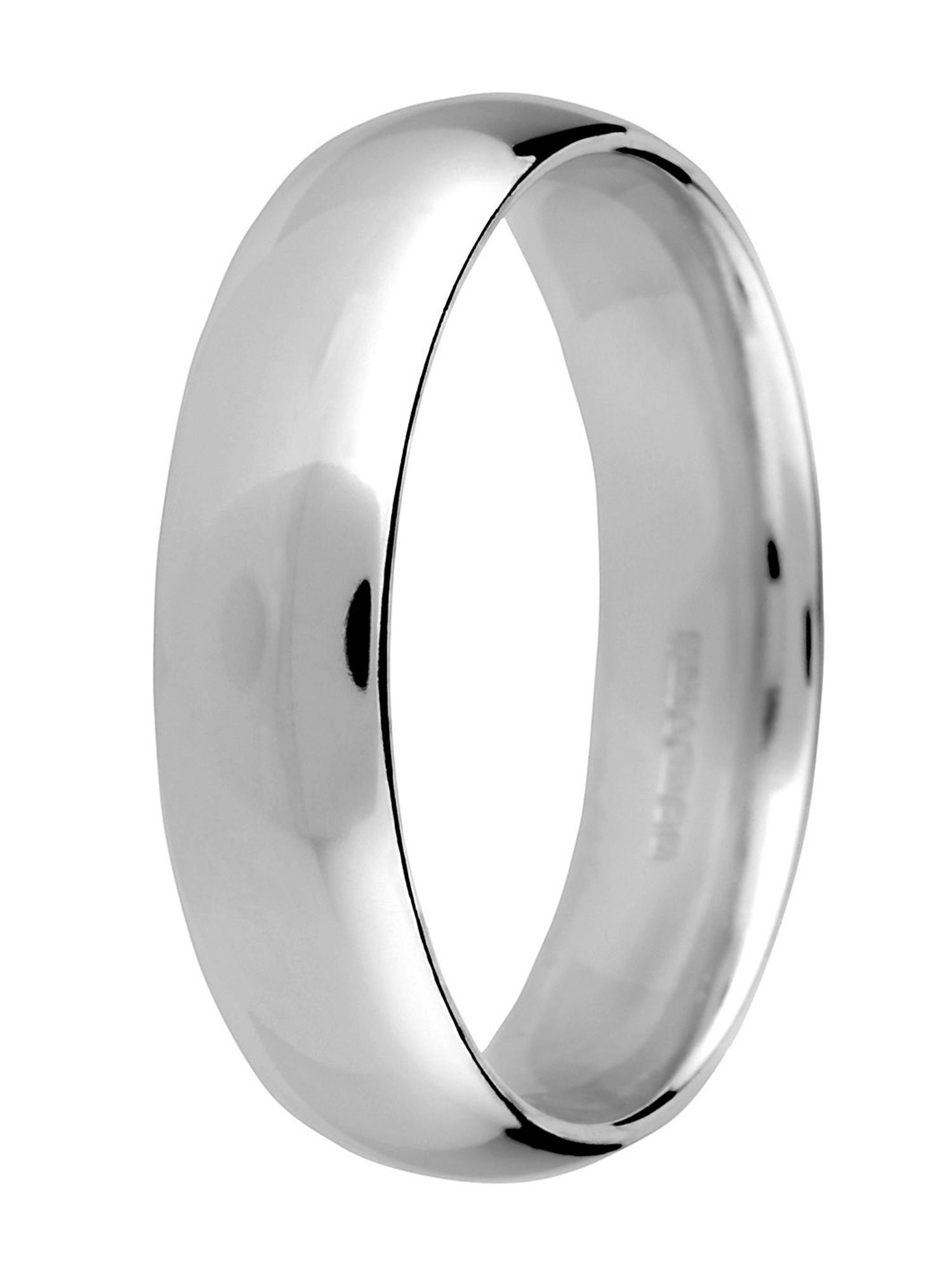 Grooms platinum 5mm court wedding ring - Silver
