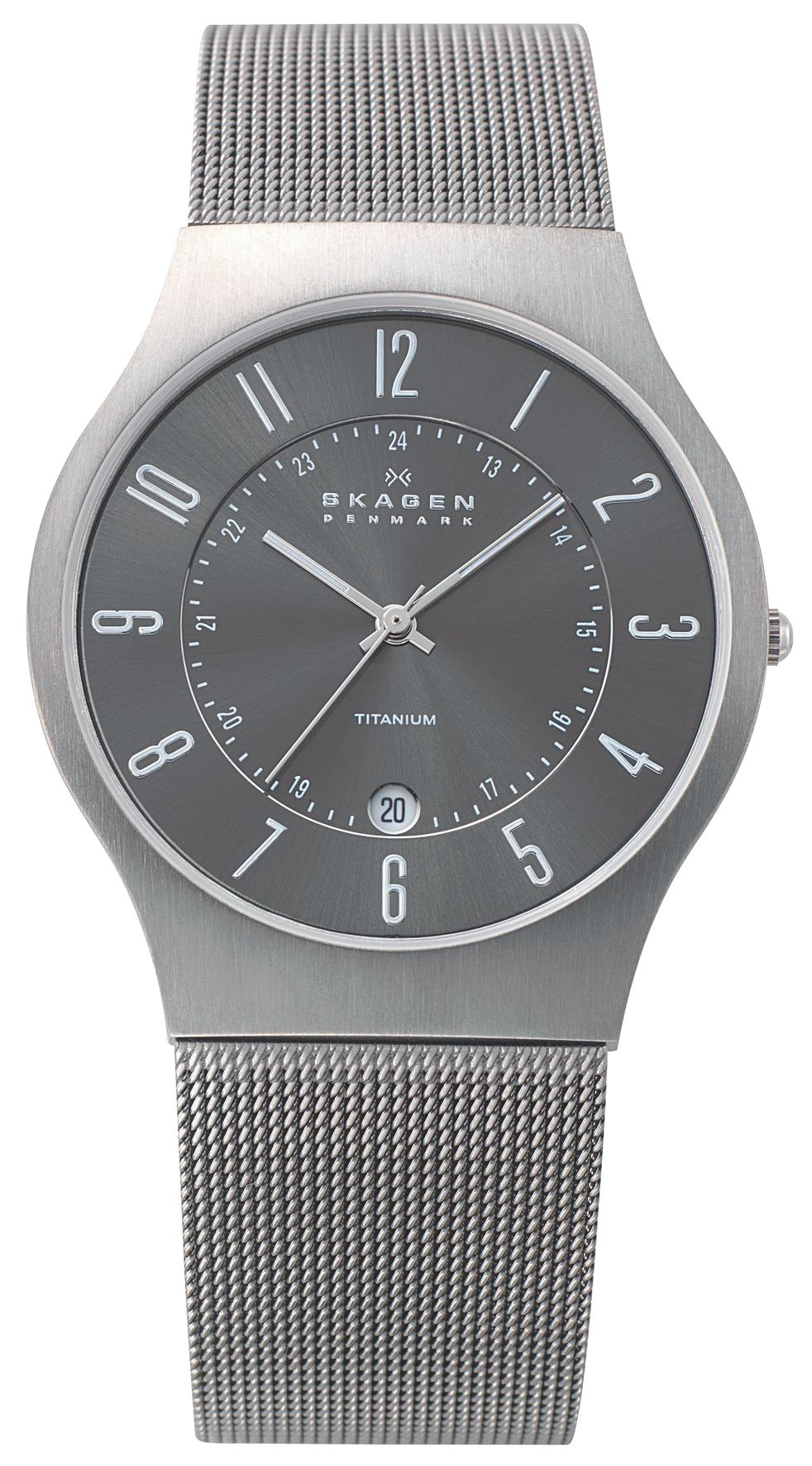 Skagen 233XLTTM Classic Grey Titanium Mens Mesh Watch, Grey