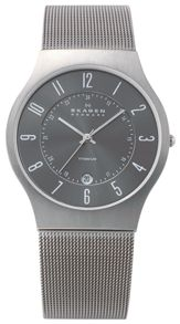 Skagen 233XLTTM Classic Grey Titanium Mens Mesh Watch