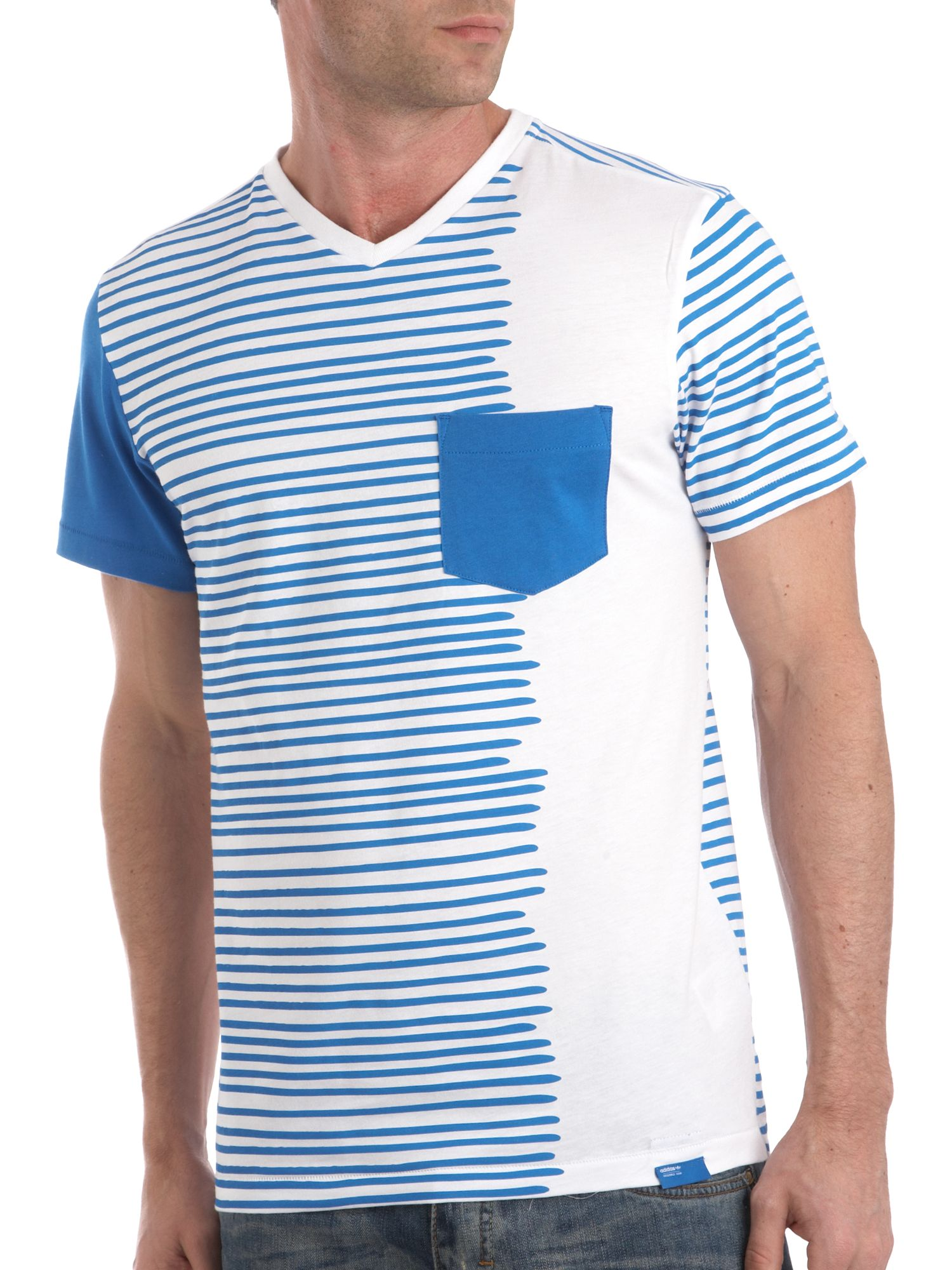 Adidas V-neck stripe T-shirt with pocket product image