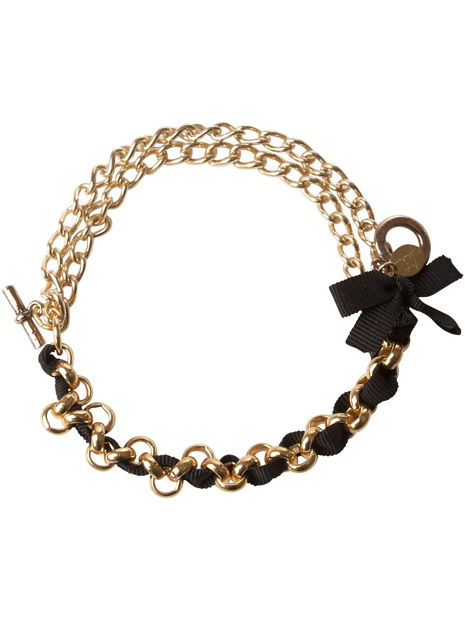 Black ribbon chain bracelet