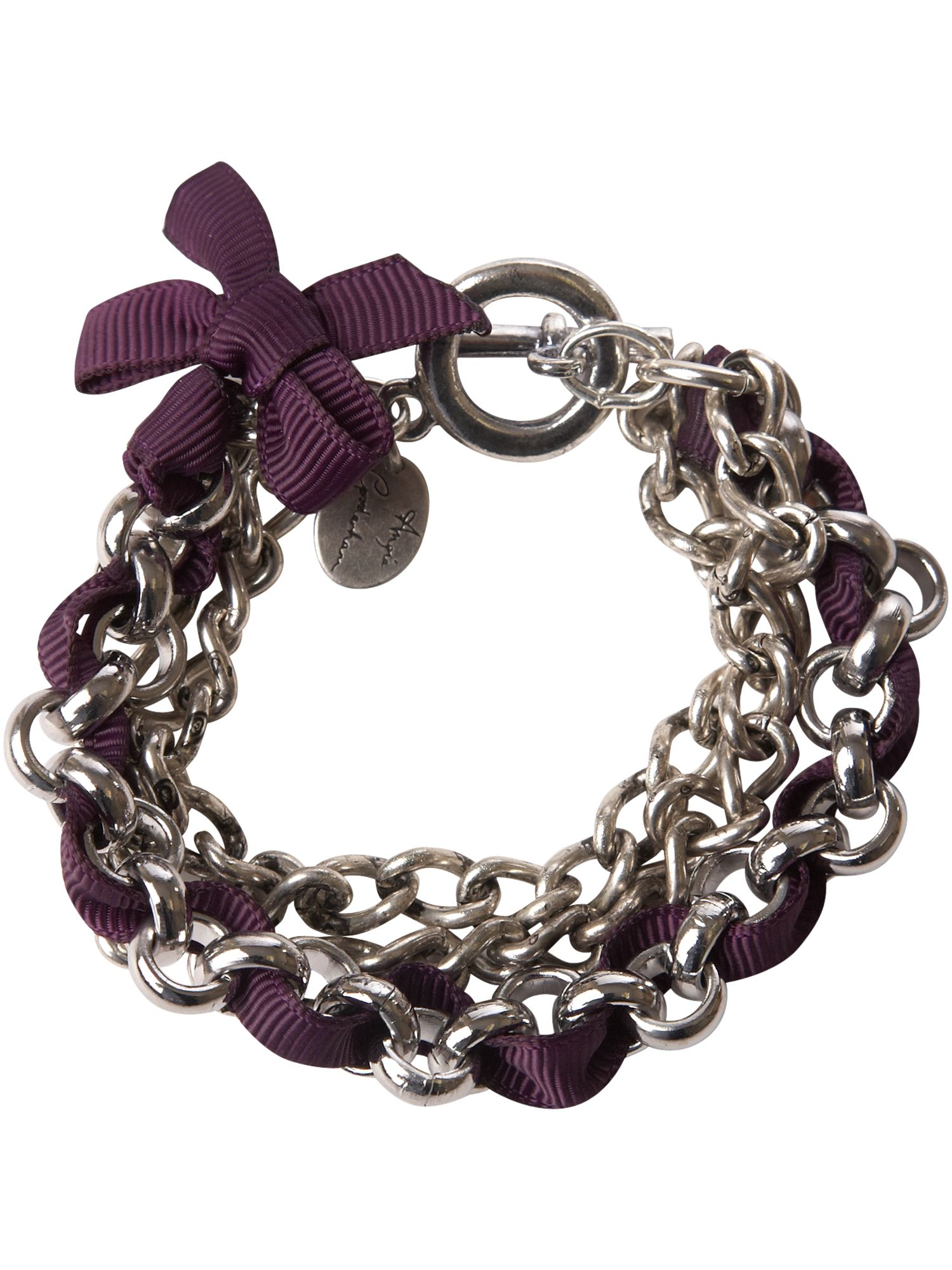 Purple ribbon chain bracelet