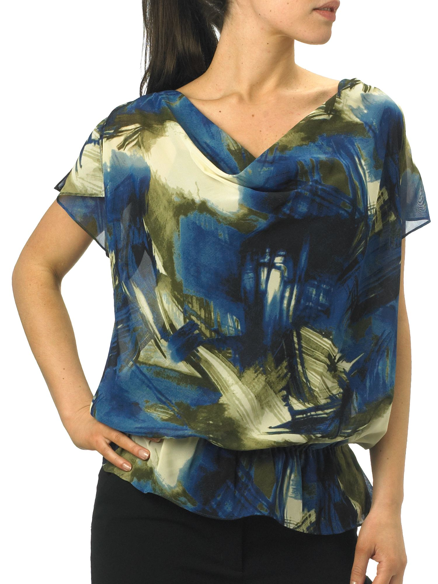 Kenneth Cole Abstract print cowl neck blouse product image