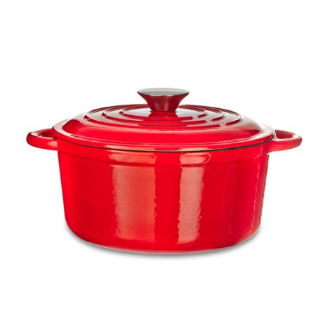 Linea Red 21cm round cast iron casserole