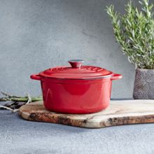 Red 21cm round cast iron casserole